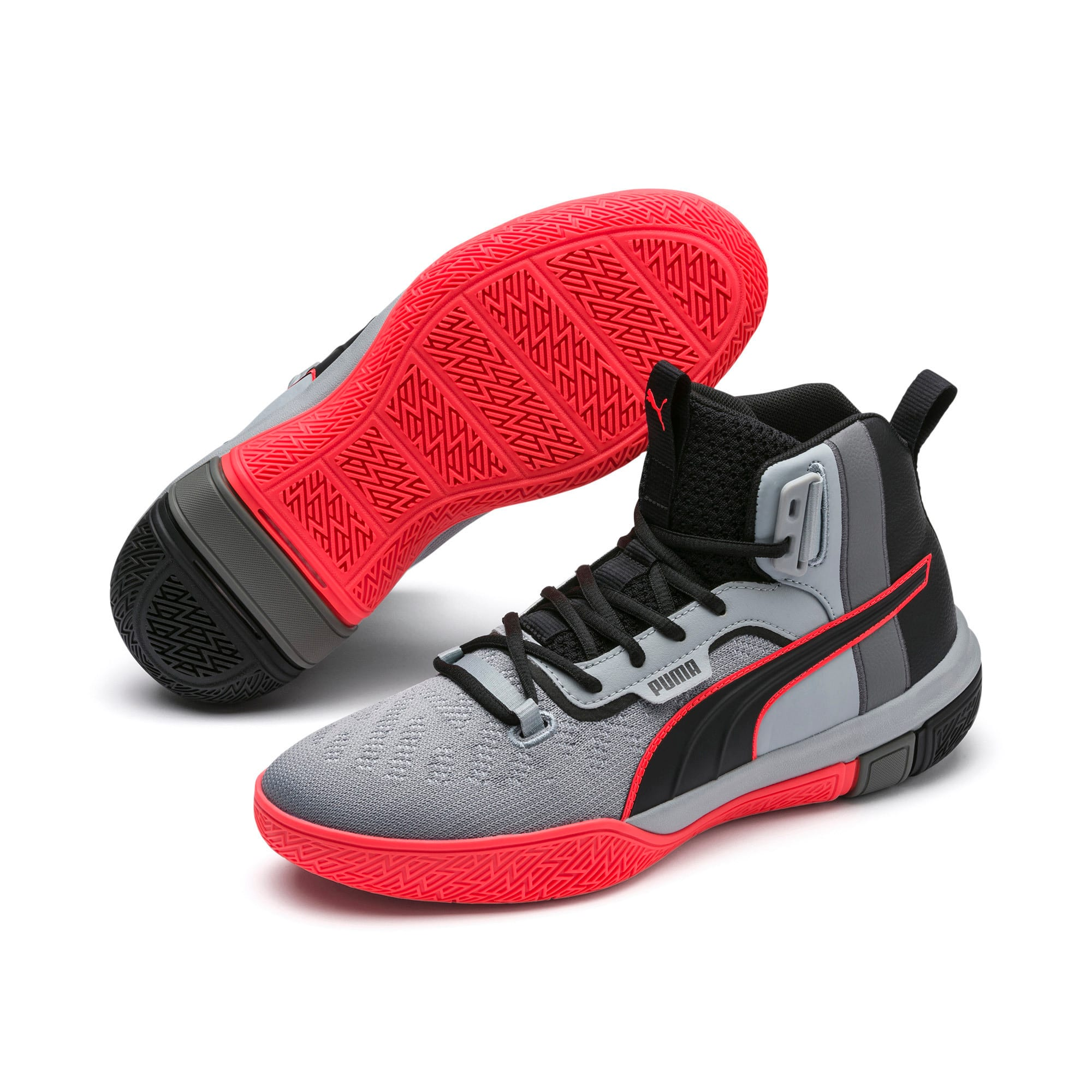 Thumbnail 2 of Legacy Disrupt Men's Basketball Shoes, Puma Black-Red Blast, medium