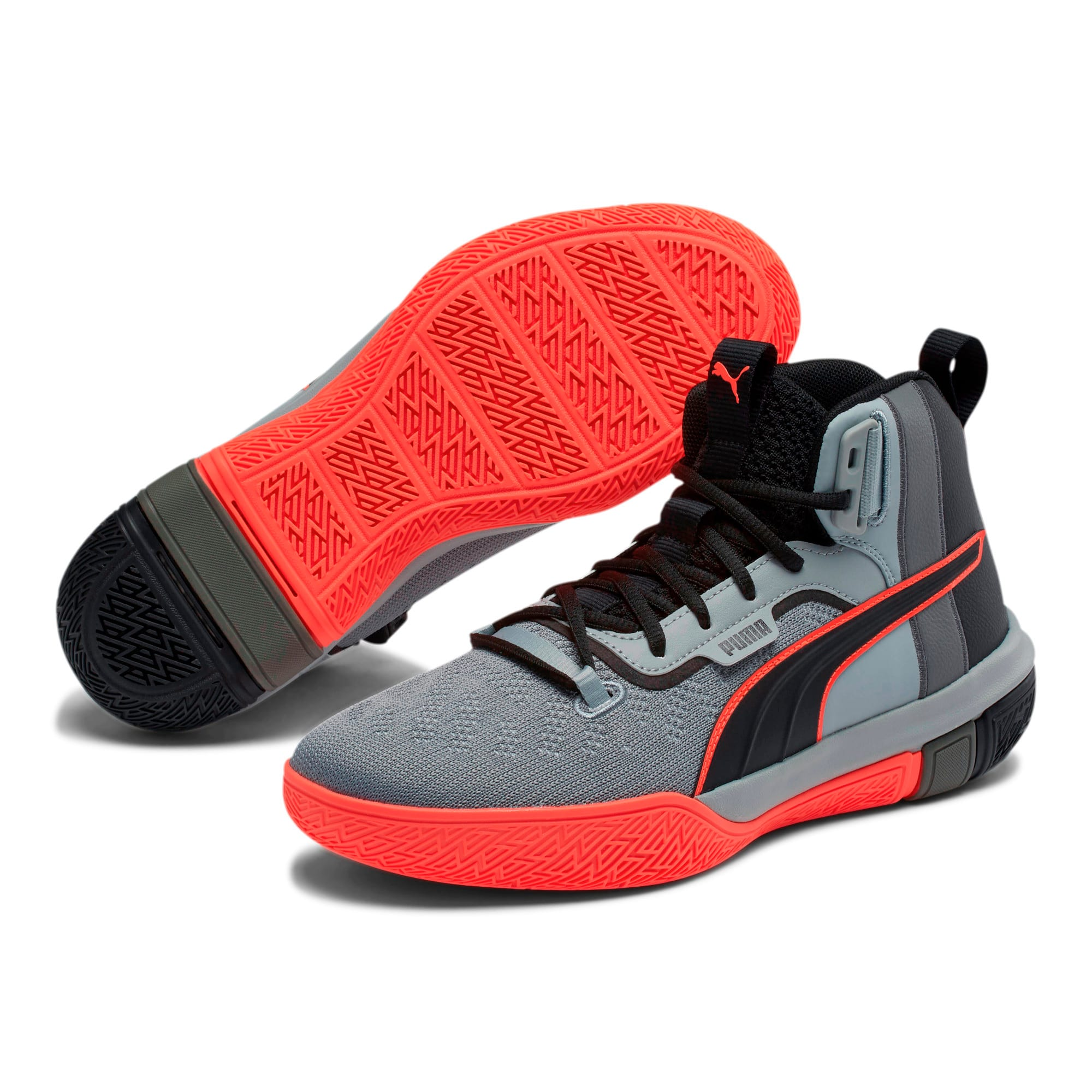 Thumbnail 2 of Legacy Disrupt Basketball Shoes, Puma Black-Red Blast, medium