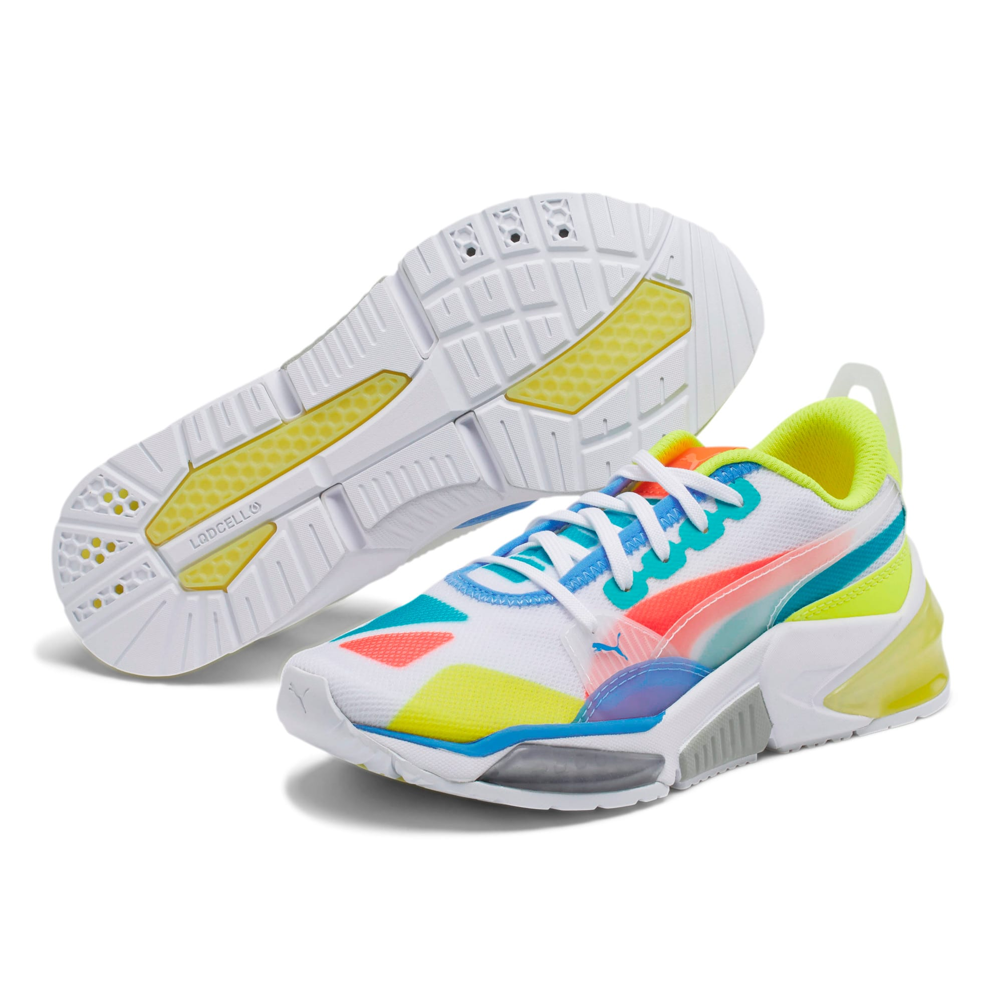 LQDCELL Optic Sheer Training Shoes JR, White-Nrgy Rose-Yellow, large