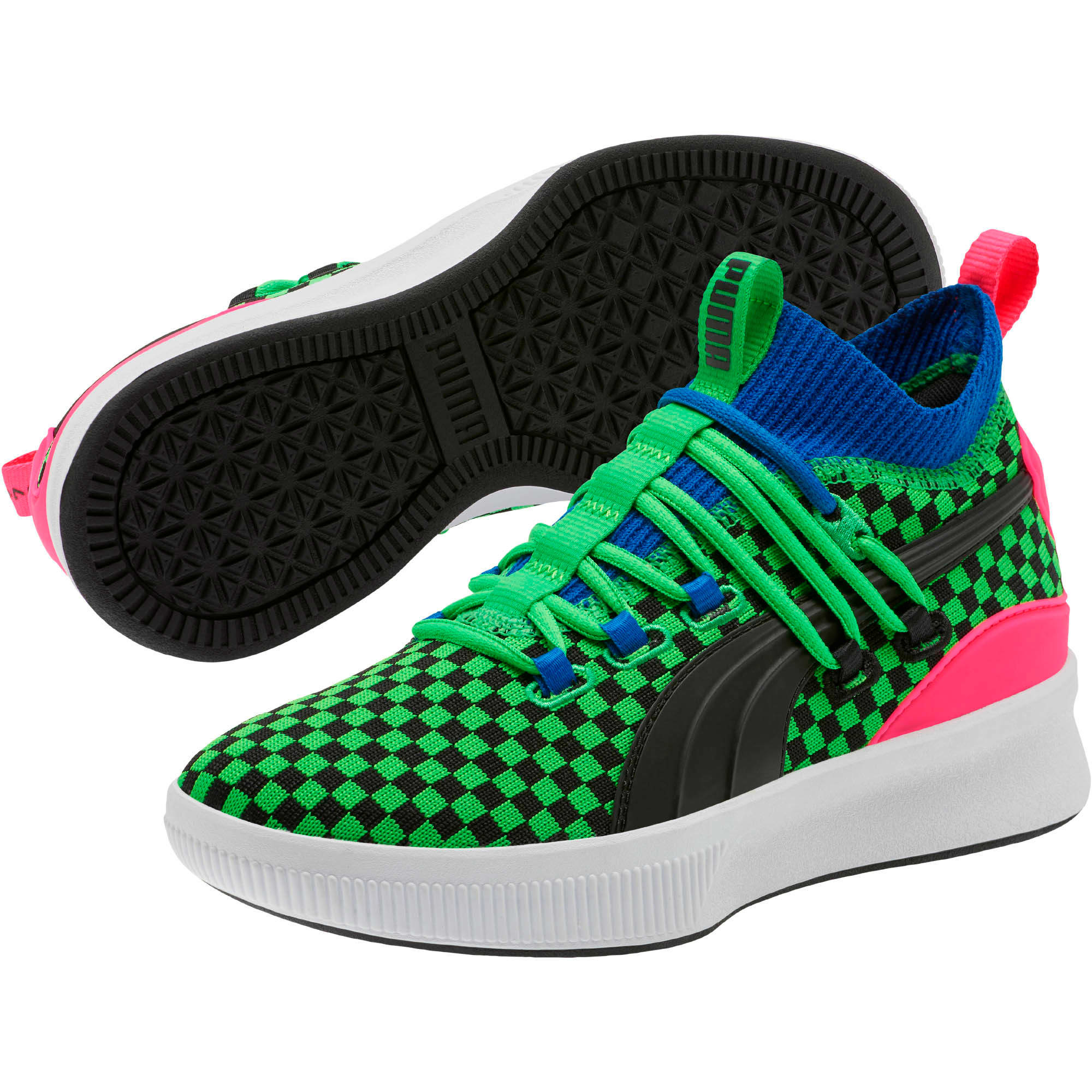 Thumbnail 2 of Clyde Court Summertime Basketball Shoes JR, 802 C Fluro Green PES, medium