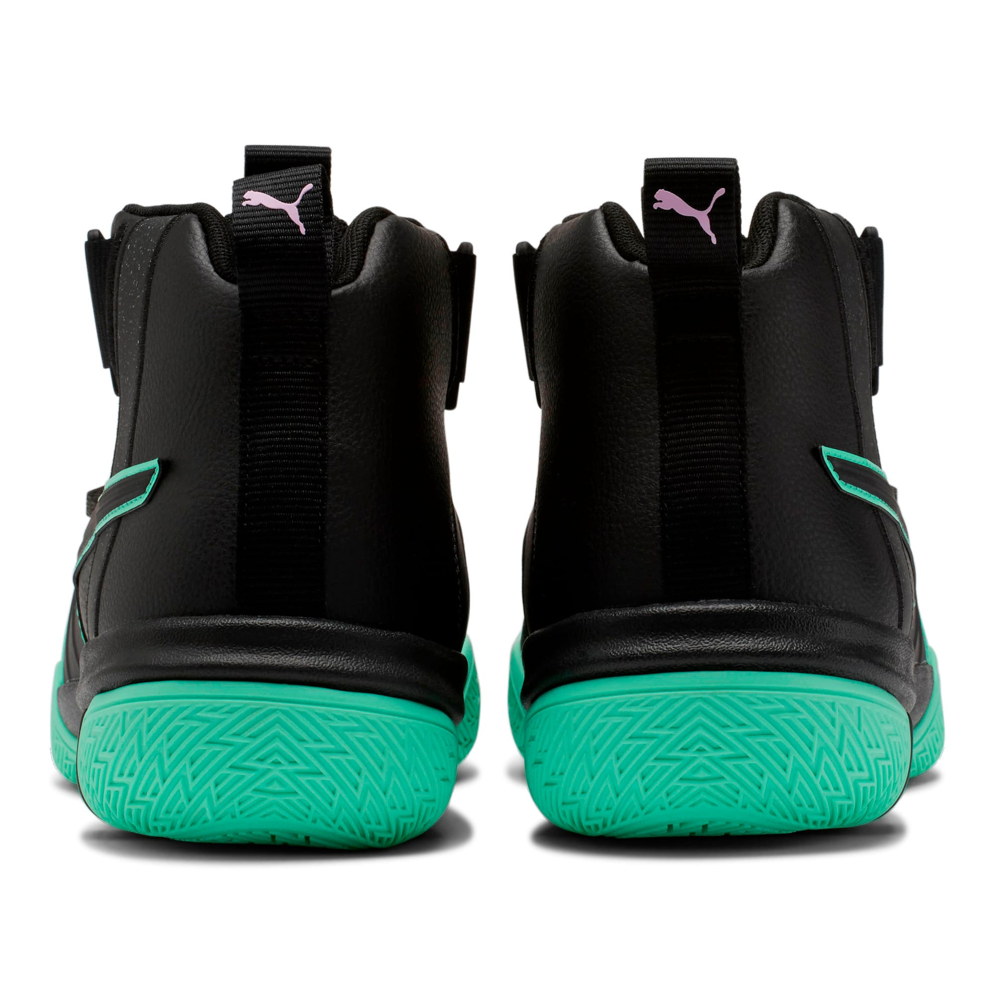 Thumbnail 3 of Legacy Dark Mode Basketball Shoes, Puma Black-Orchid Bloom, medium-IND