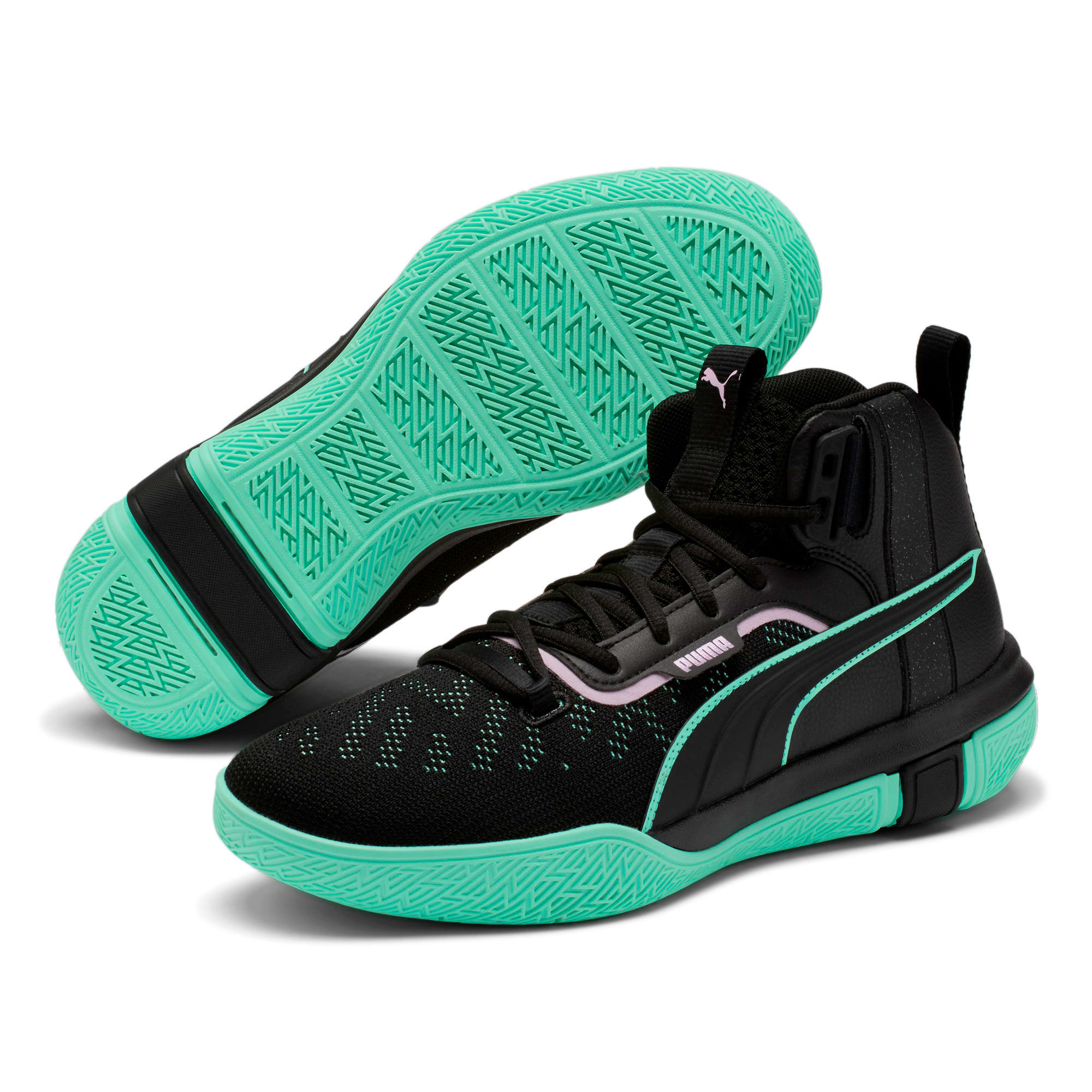 Thumbnail 2 of Legacy Dark Mode Basketball Shoes, Puma Black-Orchid Bloom, medium-IND