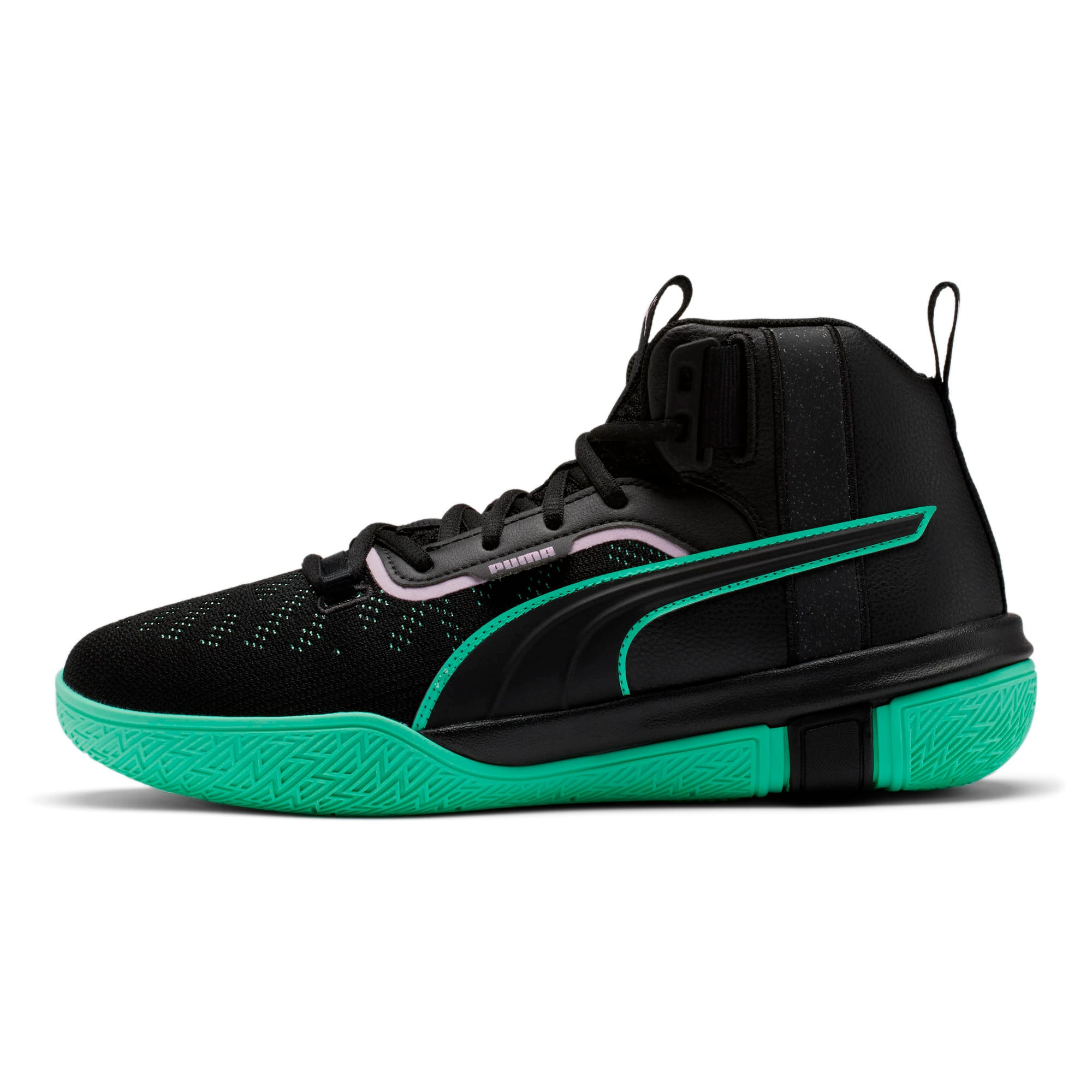 Thumbnail 1 of Legacy Dark Mode Basketball Shoes, Puma Black-Orchid Bloom, medium-IND