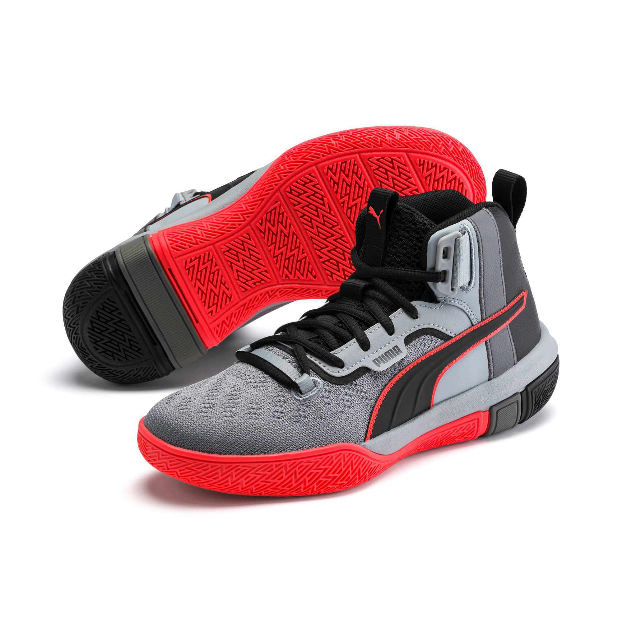 Thumbnail 2 of Legacy Disrupt Basketball Shoes JR, Puma Black-Red Blast, medium
