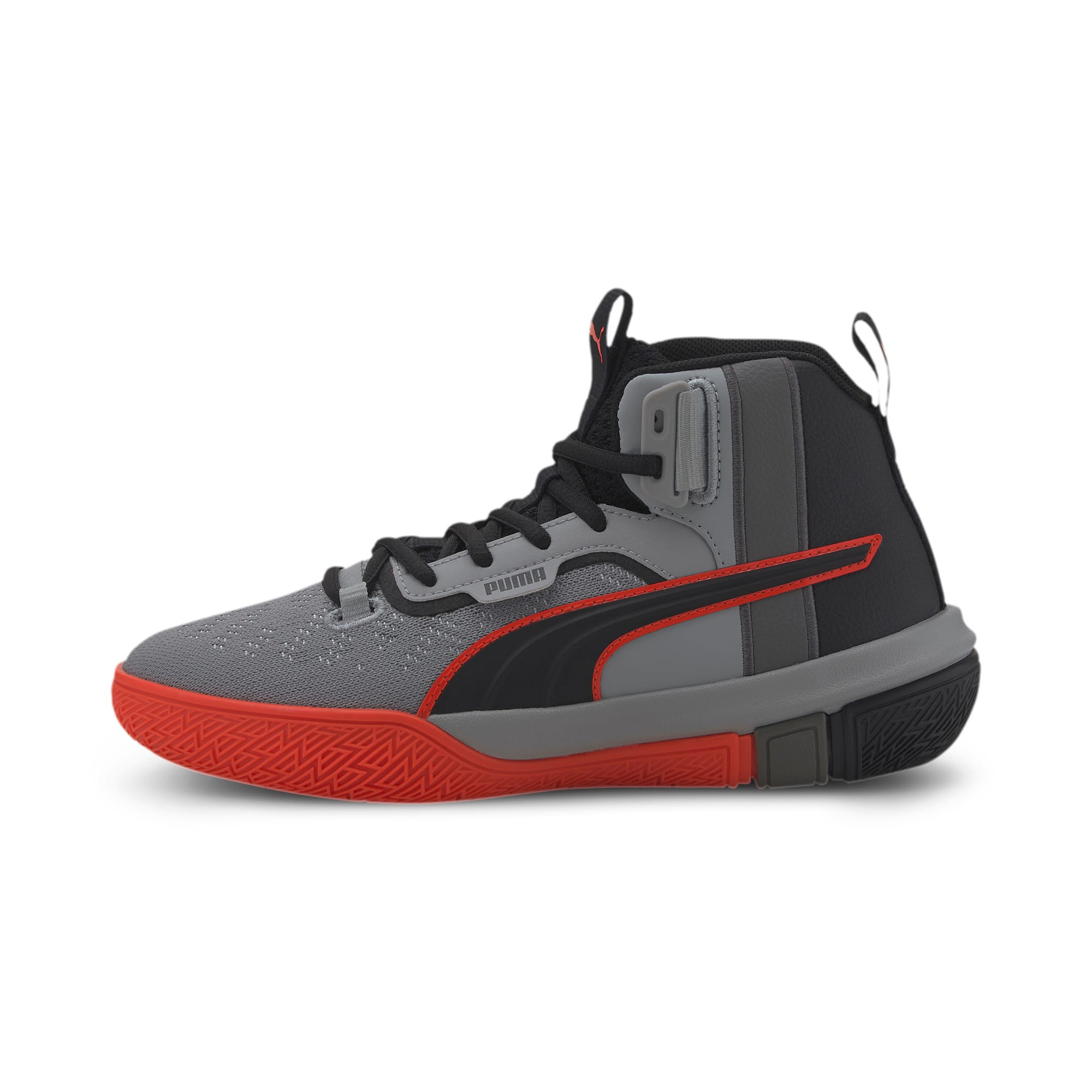 Thumbnail 1 of Legacy Disrupt Basketball Shoes JR, Puma Black-Red Blast, medium