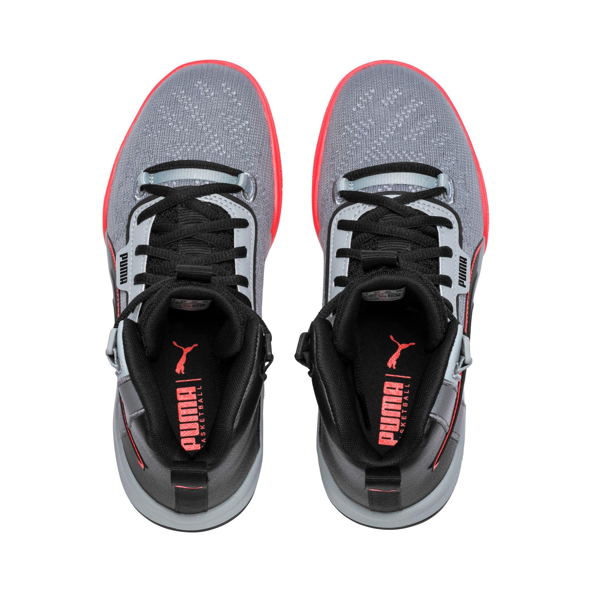 Thumbnail 6 of Legacy Disrupt Basketball Shoes JR, Puma Black-Red Blast, medium