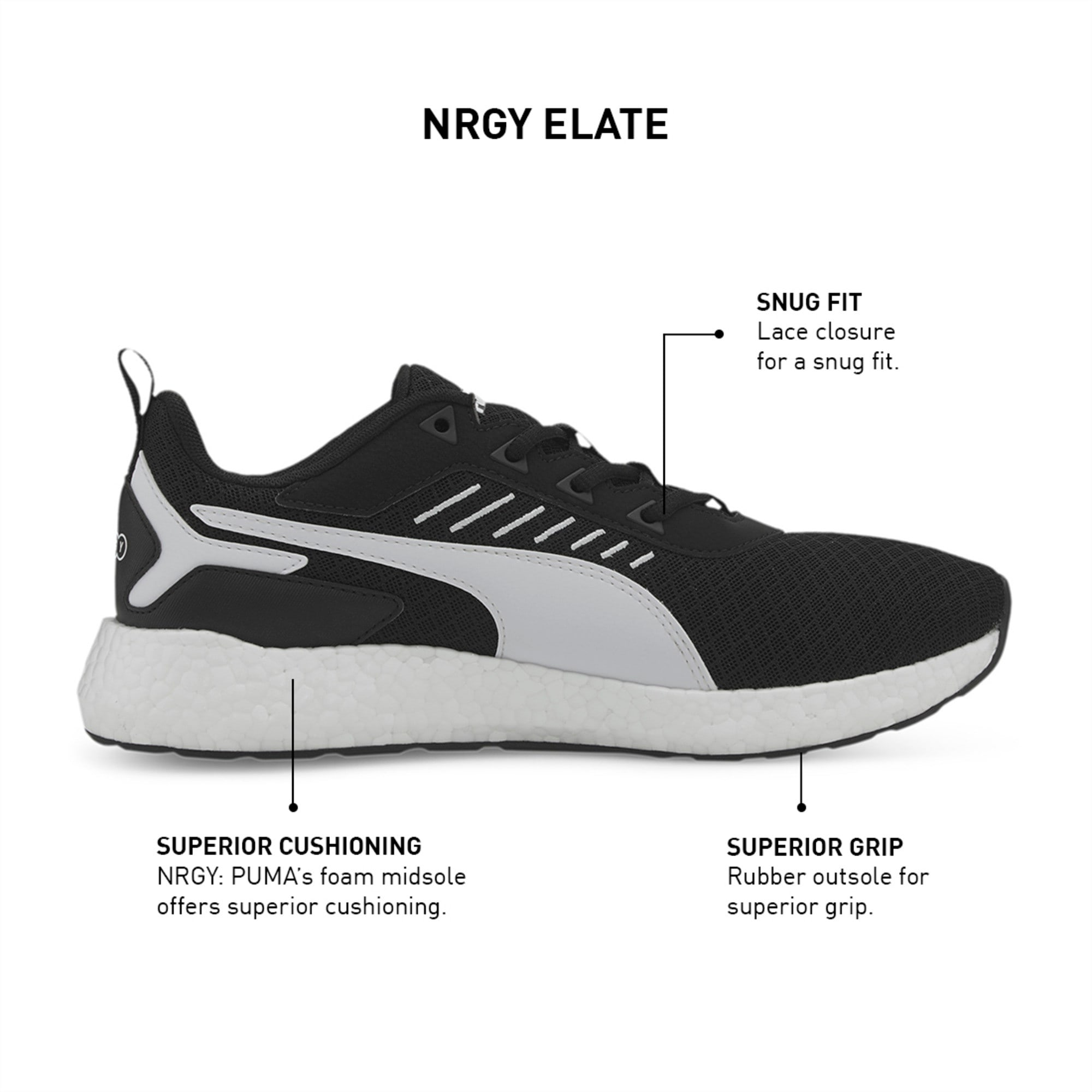 Elate NRGY Men's Running Shoes   Puma Black-Puma White   PUMA Min ...