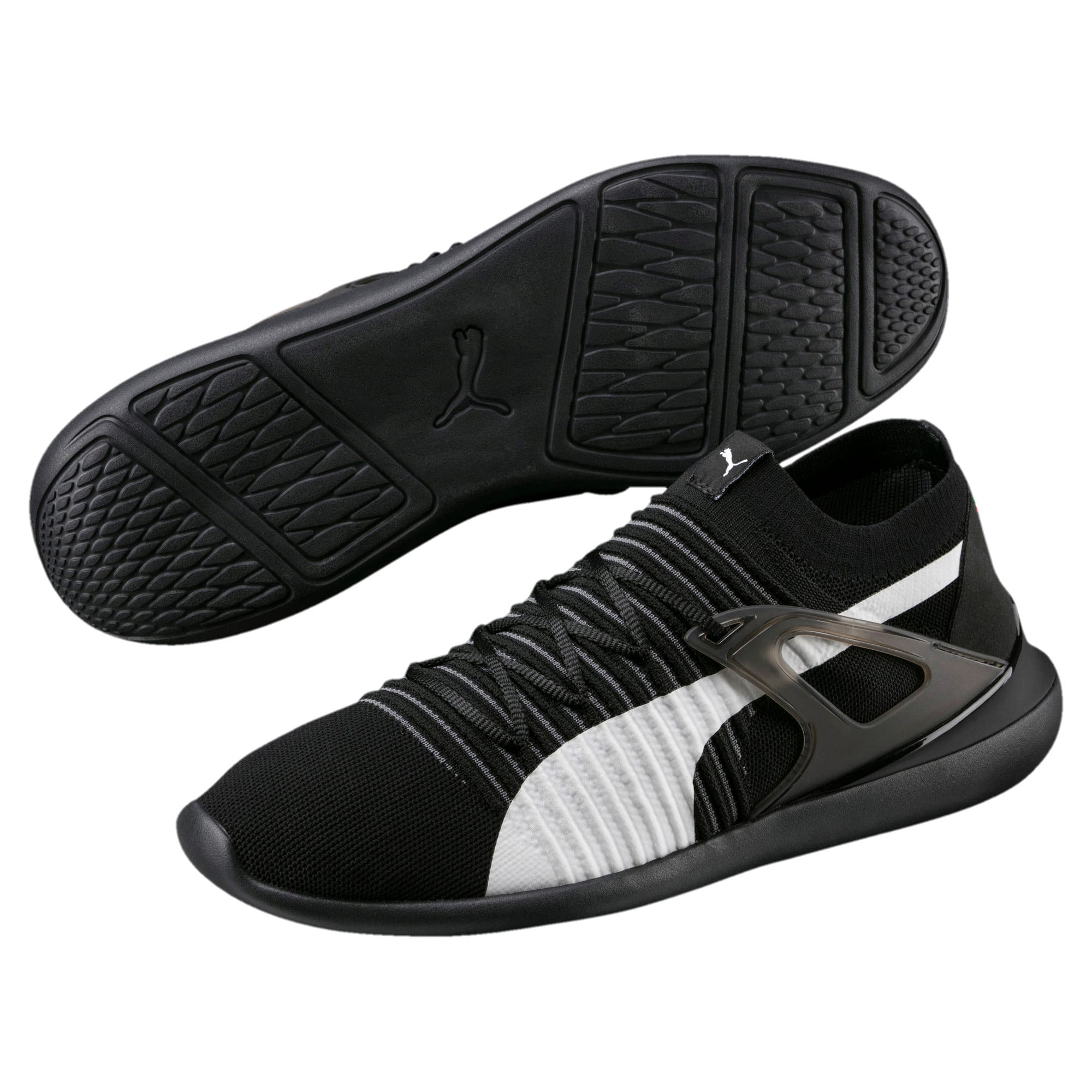 Thumbnail 2 of Ferrari Evo Cat Sock Lace Trainers, Puma Black-Puma White-Black, medium-IND