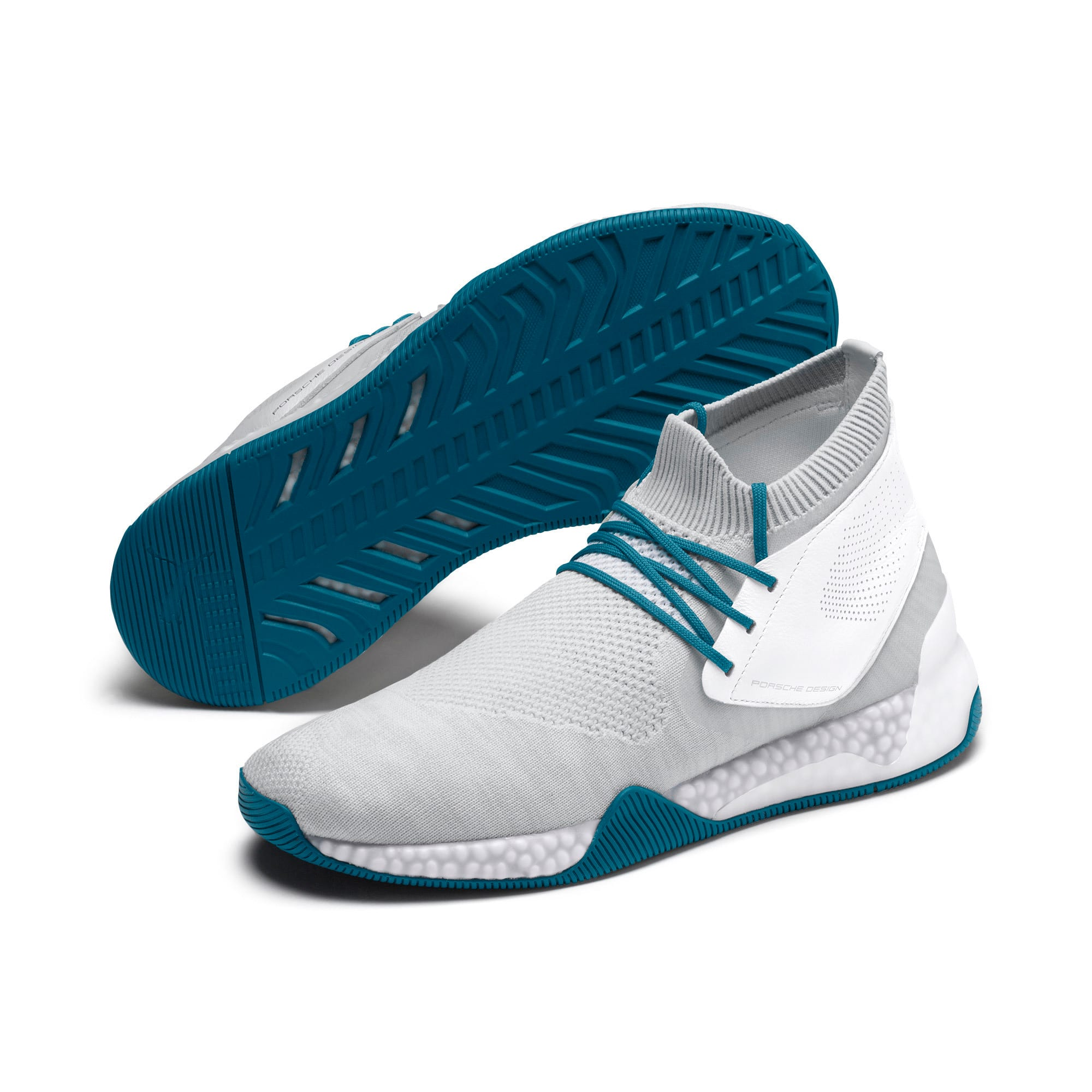 Thumbnail 3 of Porsche Design Hybrid evoKNIT Men's Trainers, White-Gray-Moroccan Blue, medium