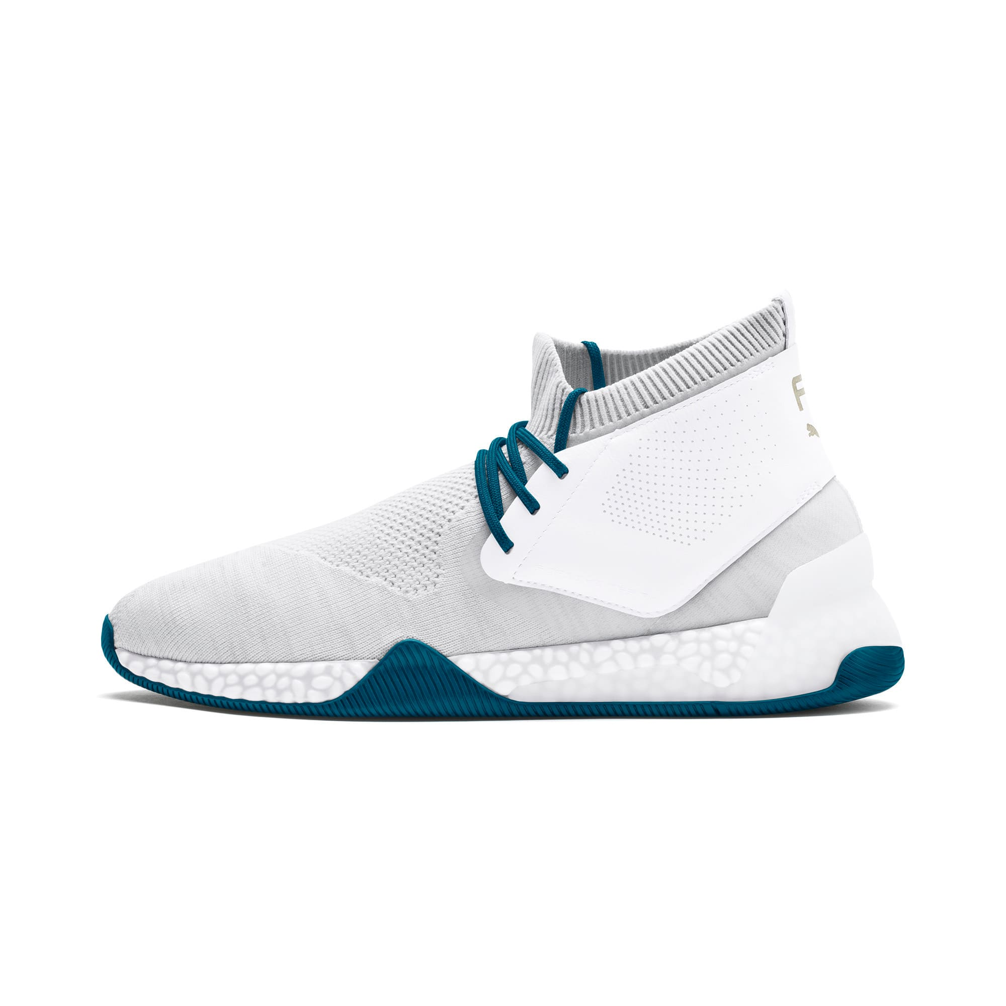 Thumbnail 1 of Porsche Design Hybrid evoKNIT Men's Trainers, White-Gray-Moroccan Blue, medium