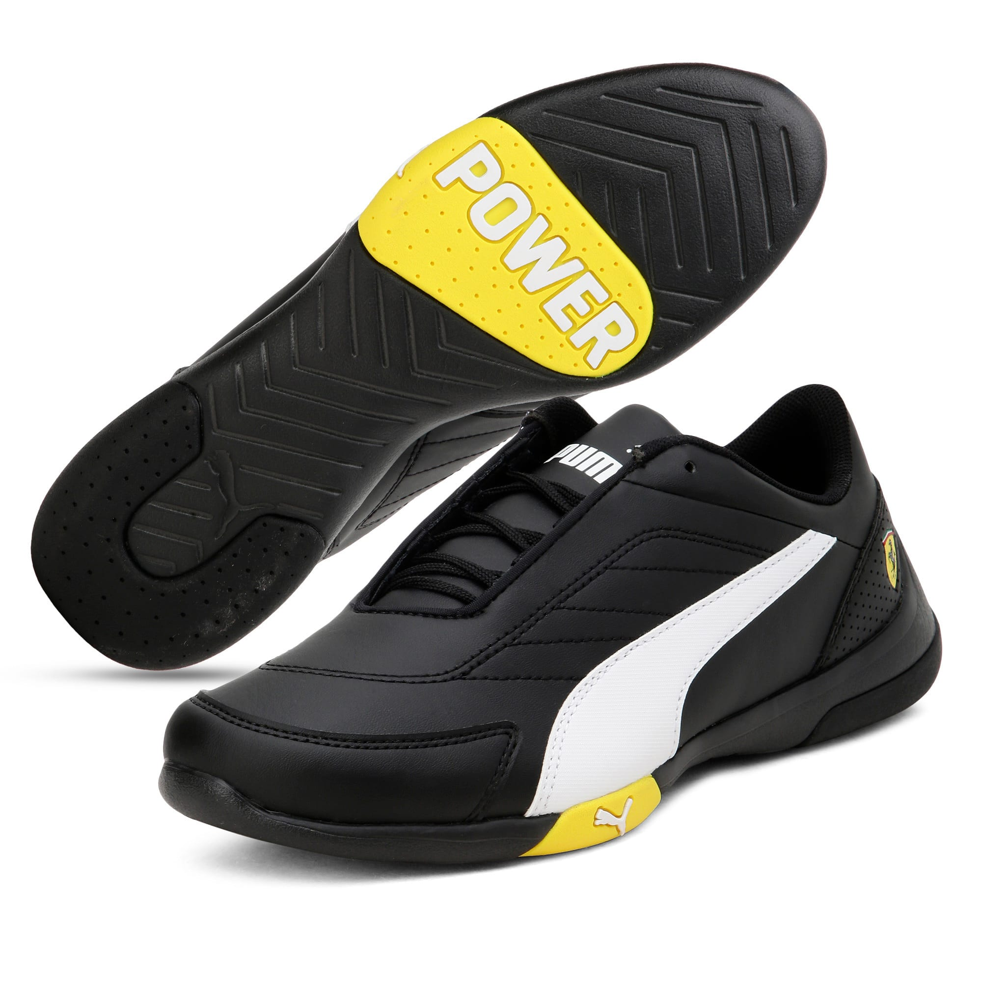 Thumbnail 2 of Ferrari Kart Cat III Youth Trainers, Black-White-Blazing Yellow, medium-IND