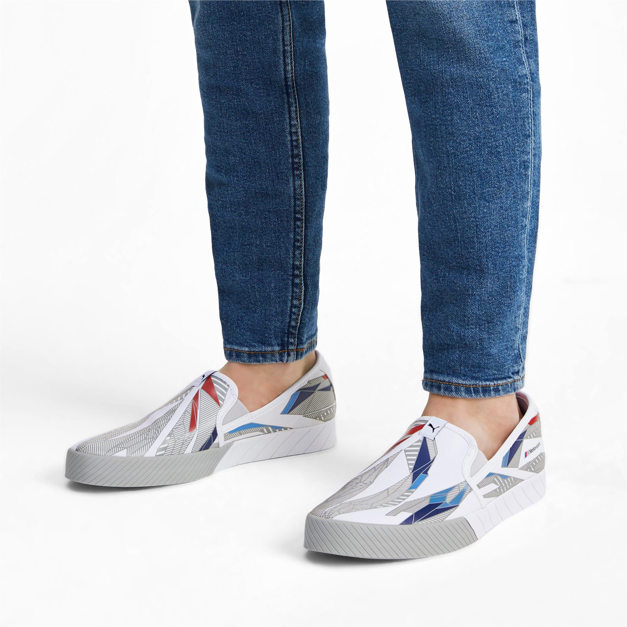 Thumbnail 2 of BMW M Slip-On Track Shoes, Puma White-Gray Violet, medium-IND