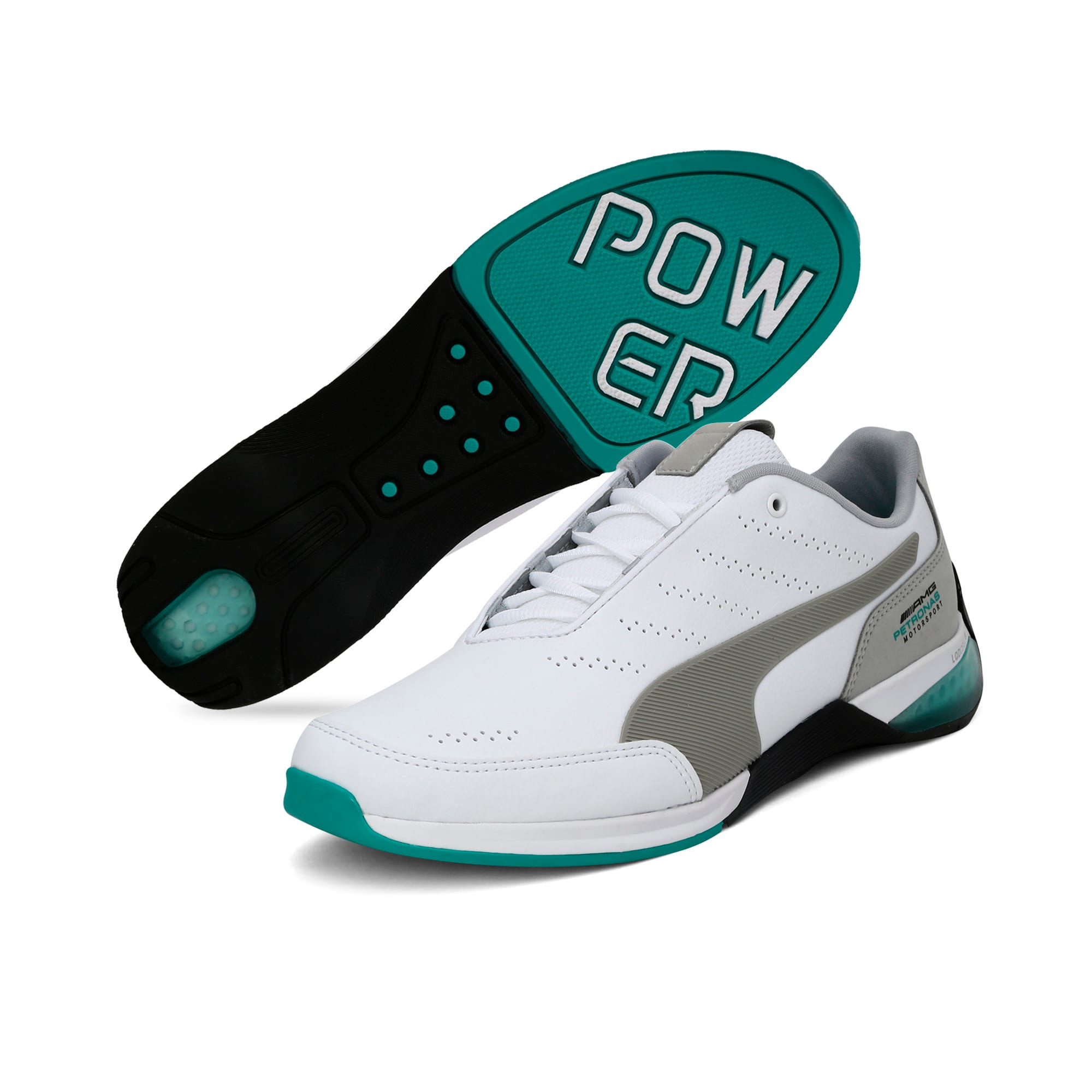 Thumbnail 4 of Mercedes AMG Petronas Motorsport Kart Cat X Trainers, Puma White-Mercedes Silver, medium-IND