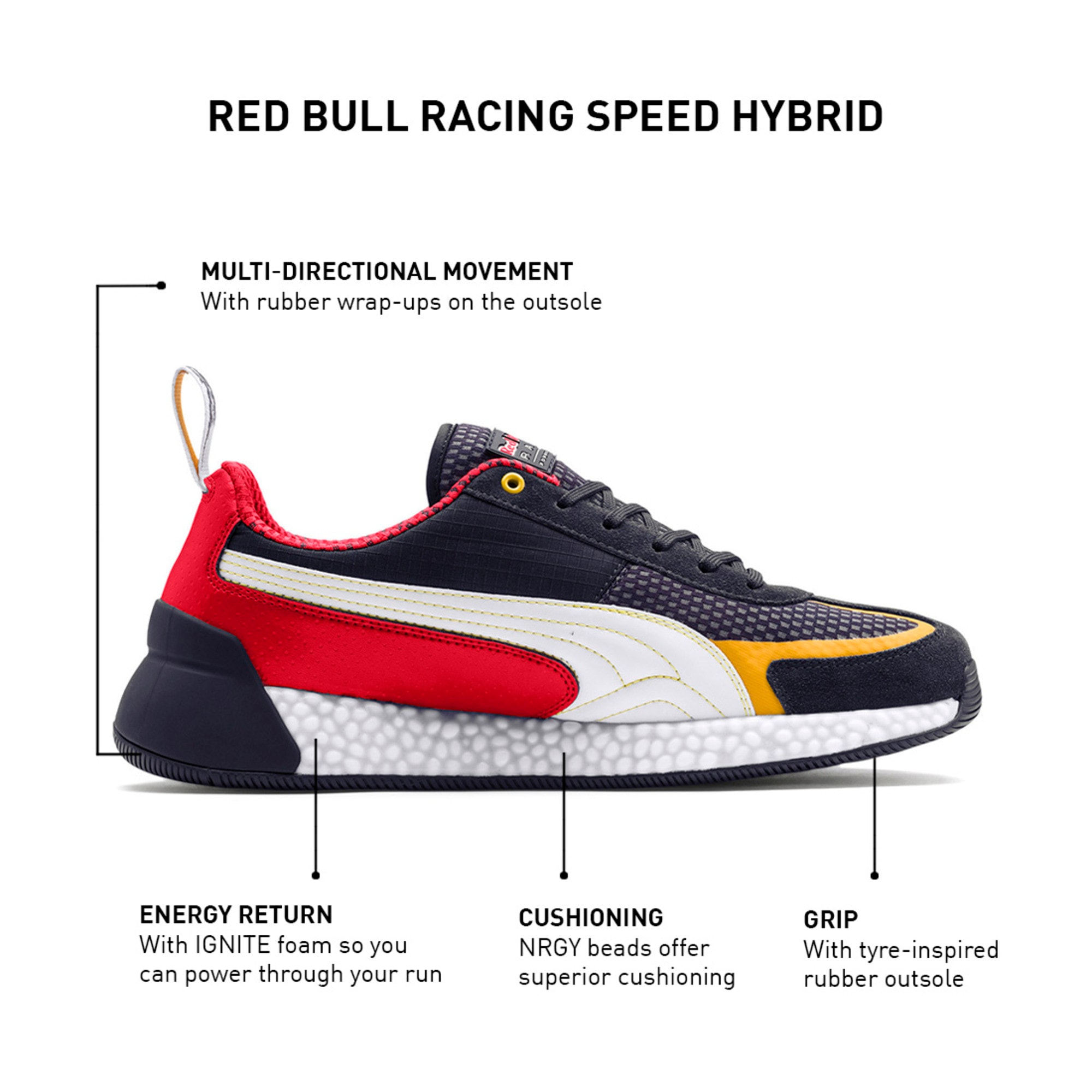 Thumbnail 9 of Red Bull Racing Speed HYBRID Men's Trainers, NIGHT SKY-White-Chinese Red, medium-IND
