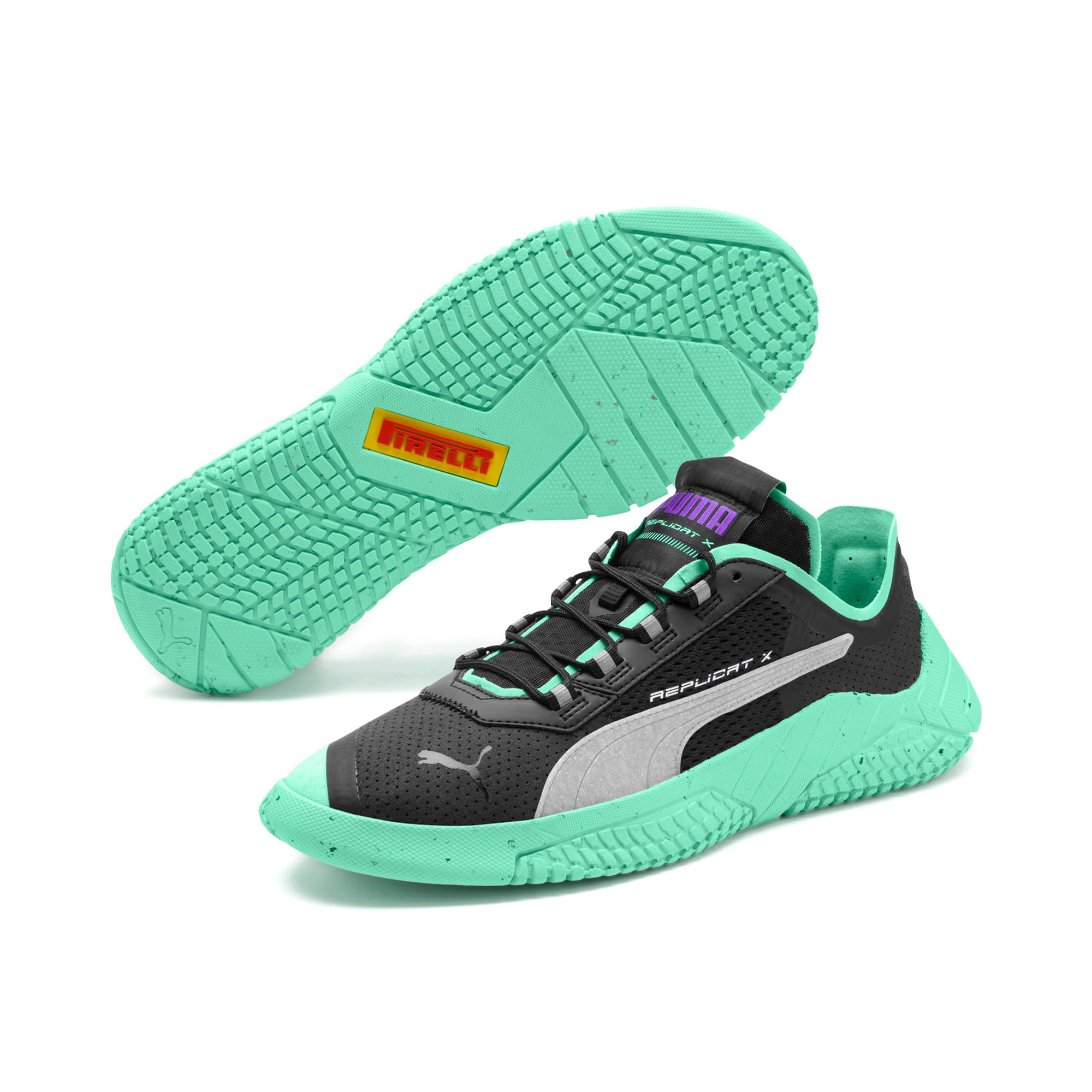 Thumbnail 2 of Replicat-X Fluro Sneaker, Black-Green Glimmer-Silver, medium