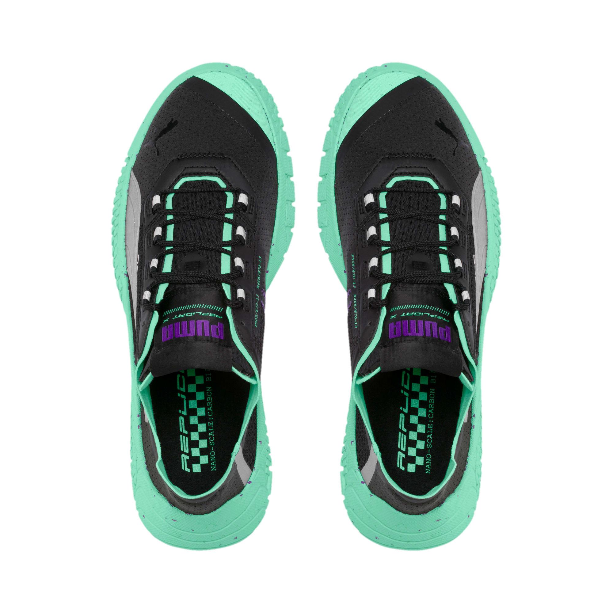 Thumbnail 6 of Replicat-X Fluro Sneaker, Black-Green Glimmer-Silver, medium