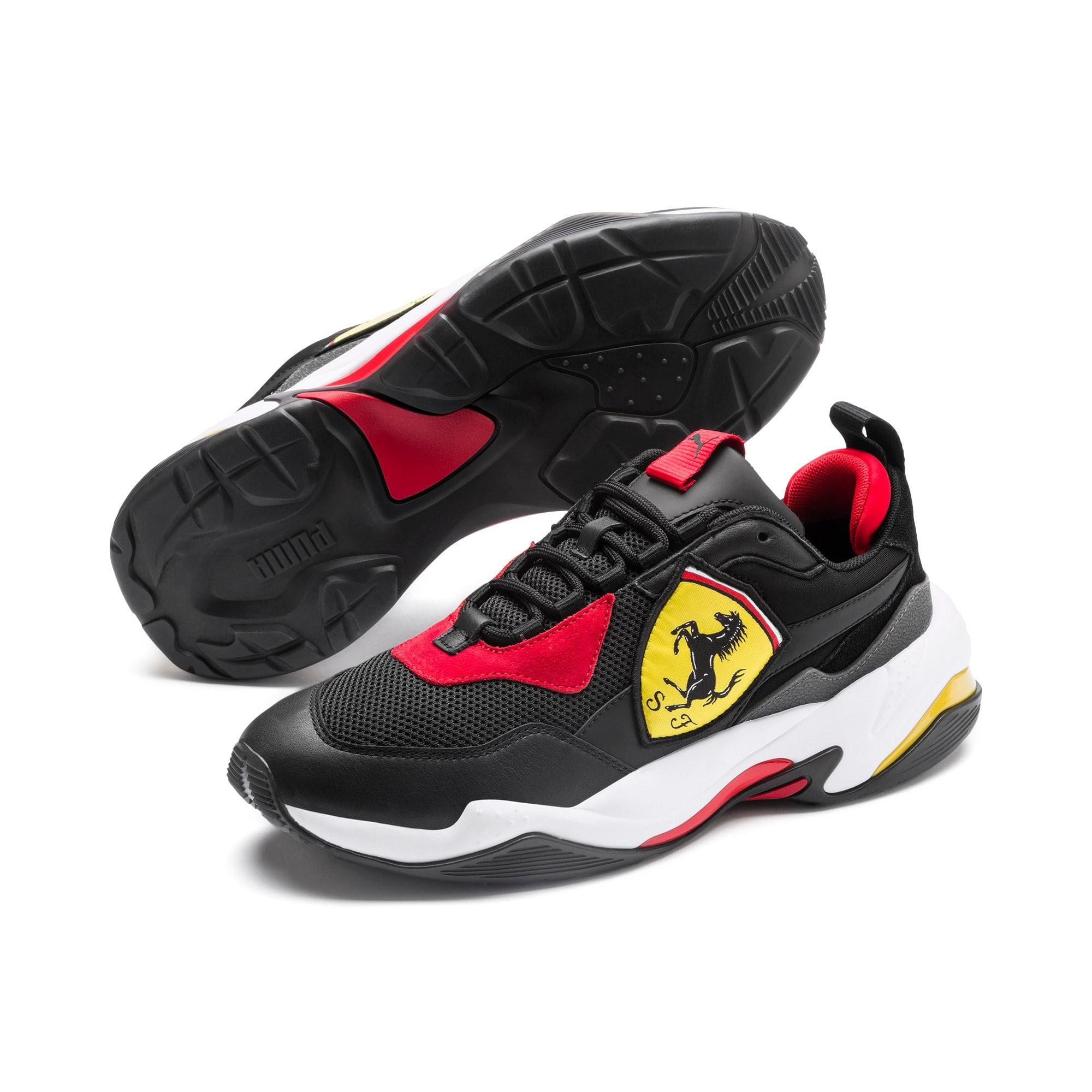 Thumbnail 2 of Ferrari Thunder Trainers, Puma Black-Rosso Corsa, medium