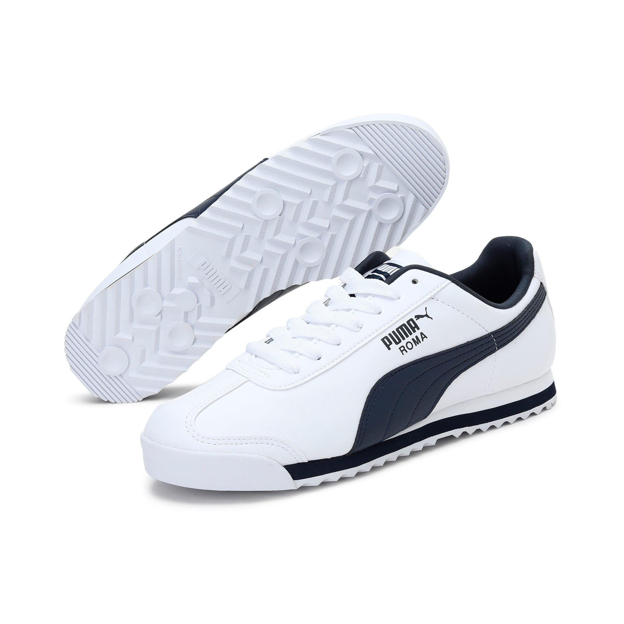 Thumbnail 2 of Roma Basic Men's Sneakers, white-new navy, medium