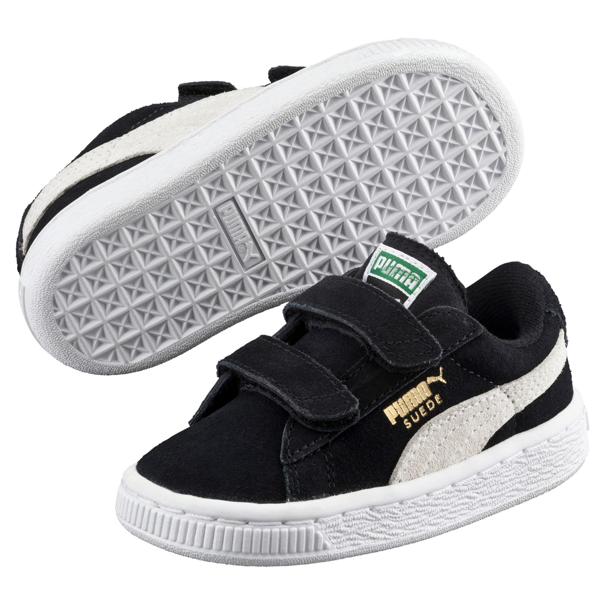 Thumbnail 2 of Suede Two-strap Babies' Trainers, black-white, medium