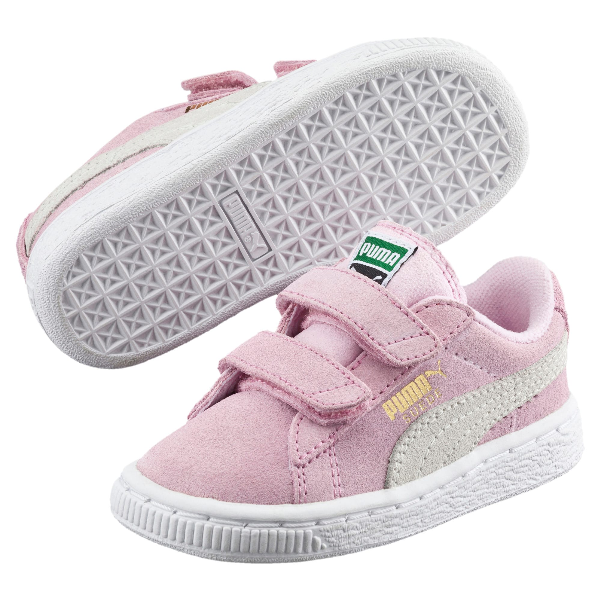 Thumbnail 2 of Suede Two-strap Babies' Trainers, pink lady-team gold, medium