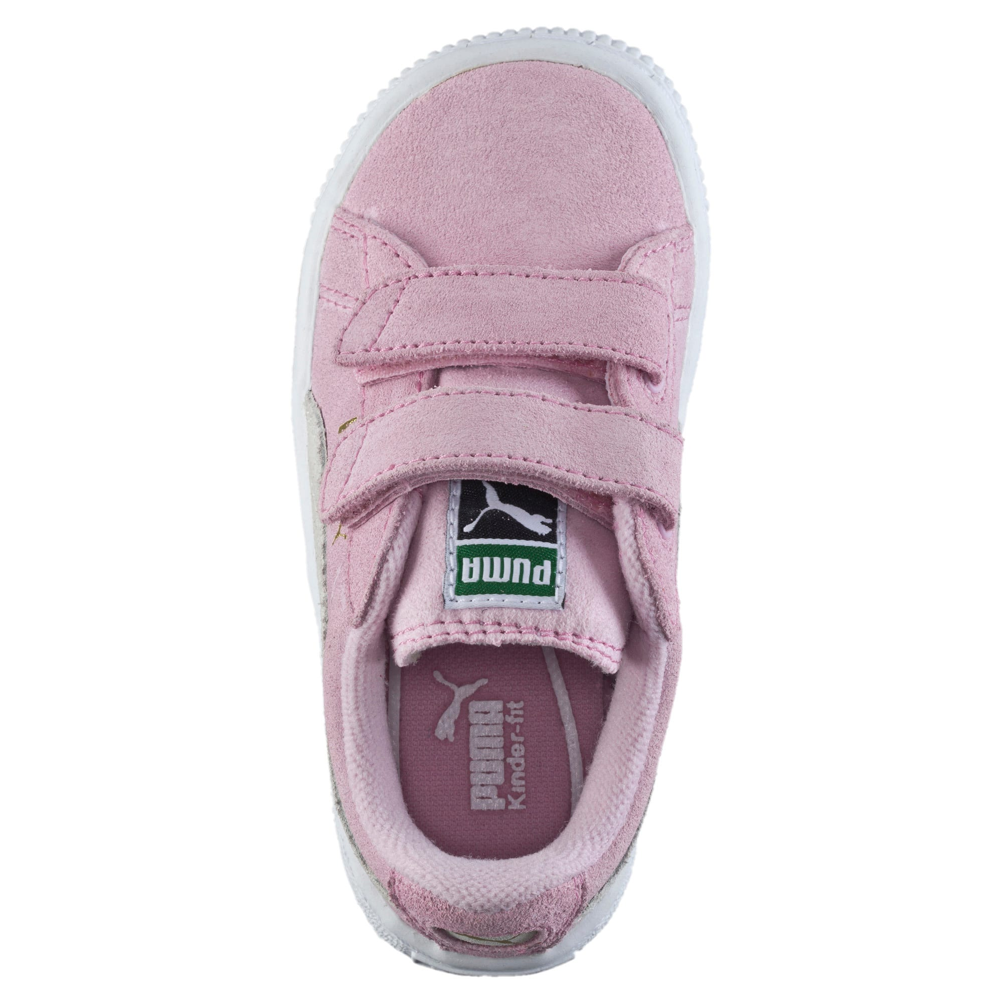 Thumbnail 5 of Suede Two-strap Babies' Trainers, pink lady-team gold, medium