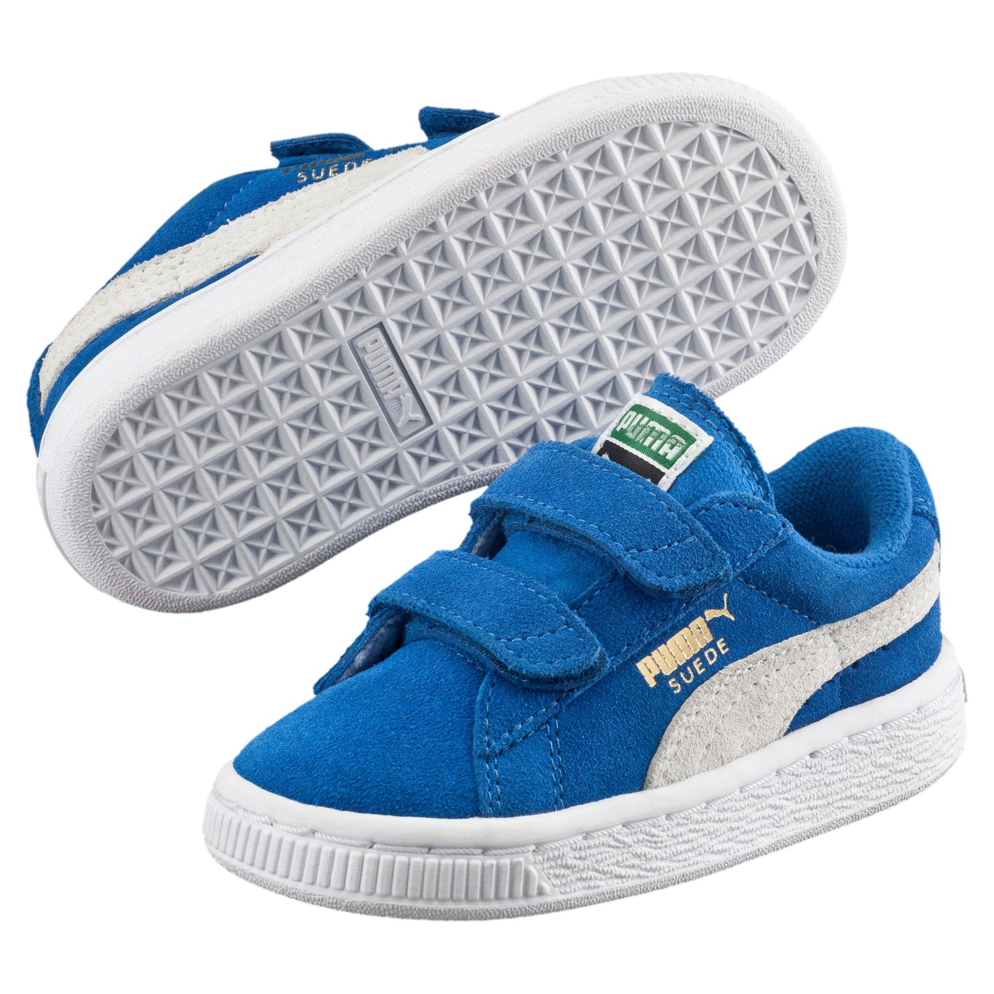 Thumbnail 2 of Suede Preschool Sneaker mit 2 Riemen, Snorkel Blue-Puma White, medium