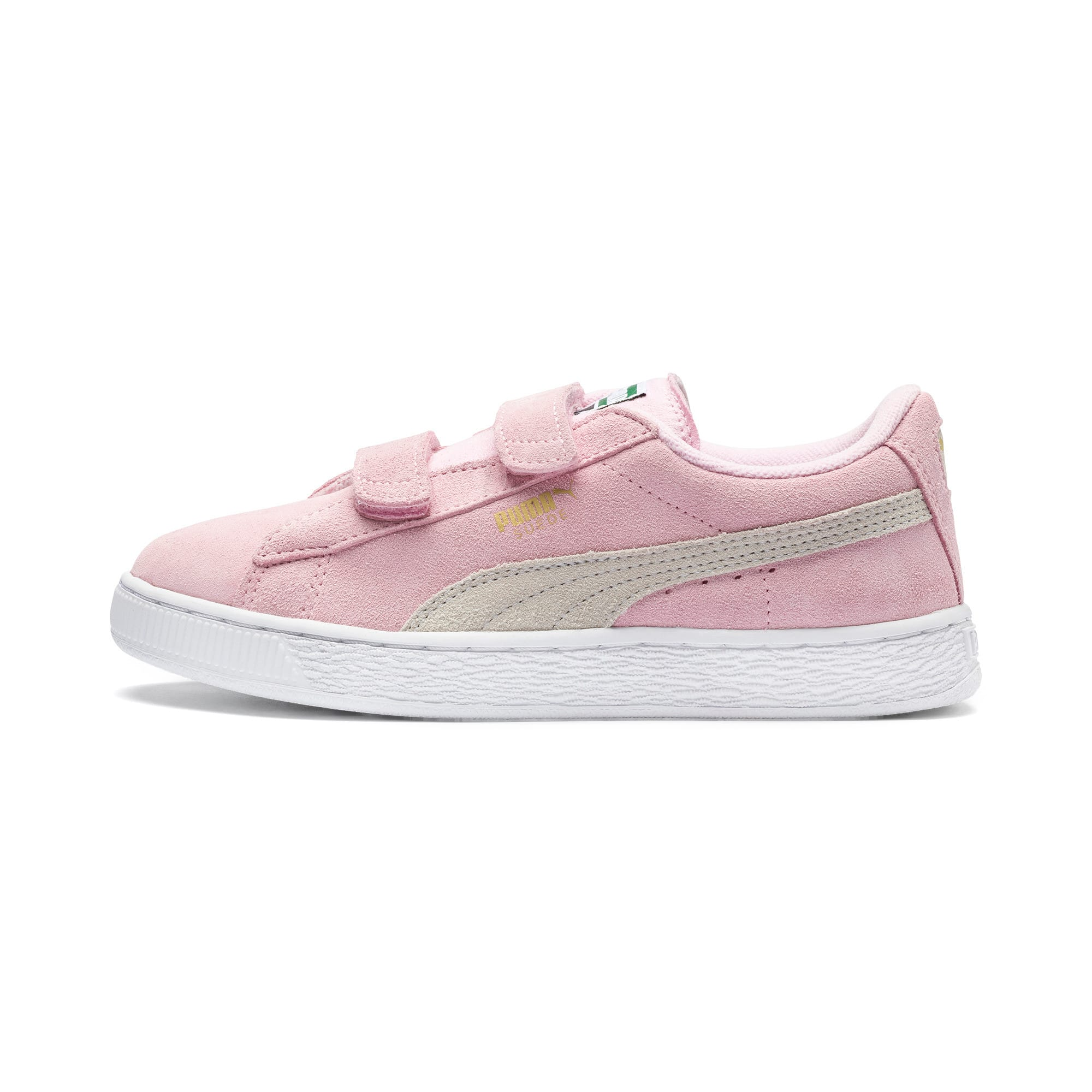 Thumbnail 1 of Suede Kids' Trainers, Pink Lady-Puma Team Gold, medium