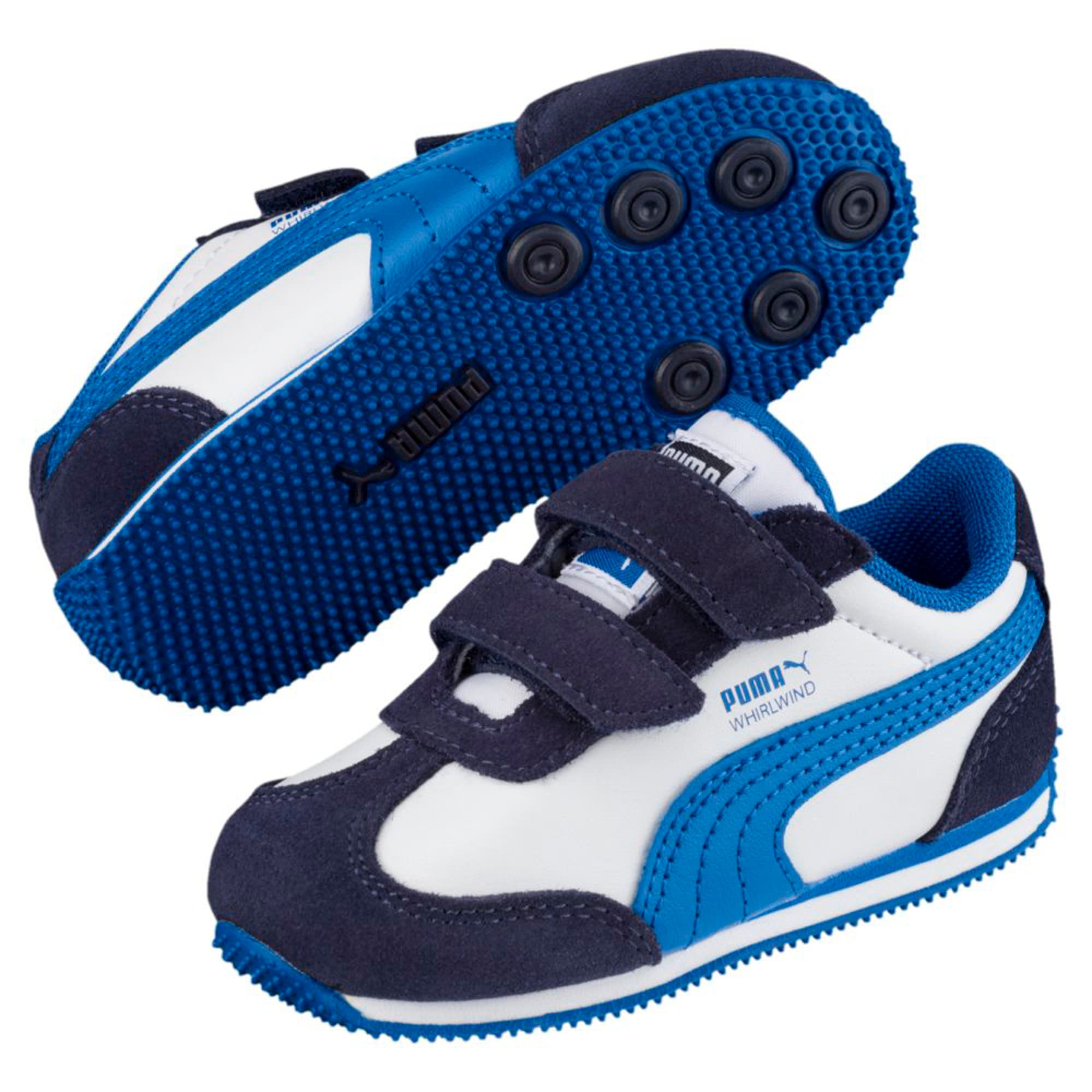 Thumbnail 2 of Whirlwind Leather V Preschool Kids' Trainers, White-Peacoat-Strong Blue, medium-IND