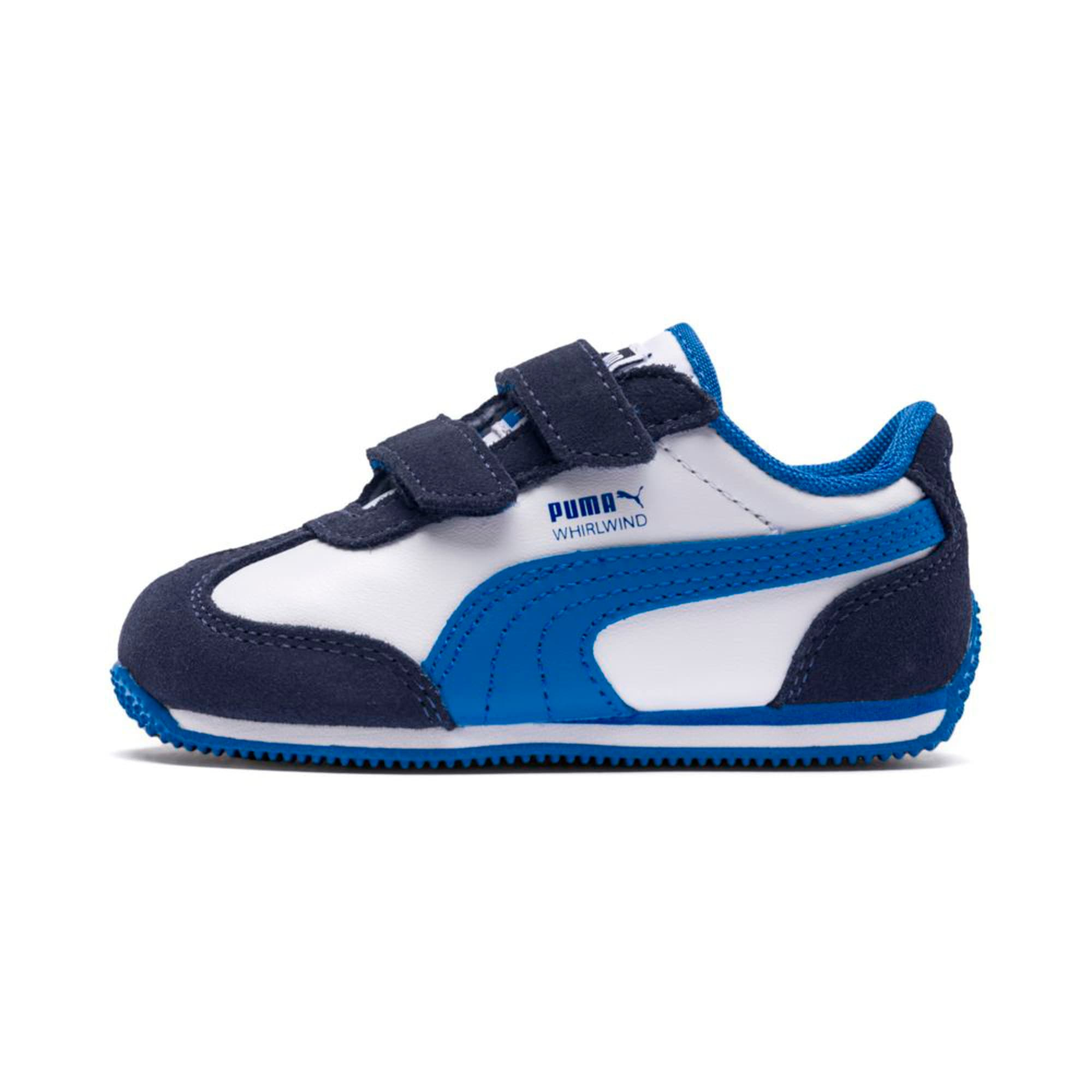 Thumbnail 1 of Whirlwind Leather V Preschool Kids' Trainers, White-Peacoat-Strong Blue, medium-IND