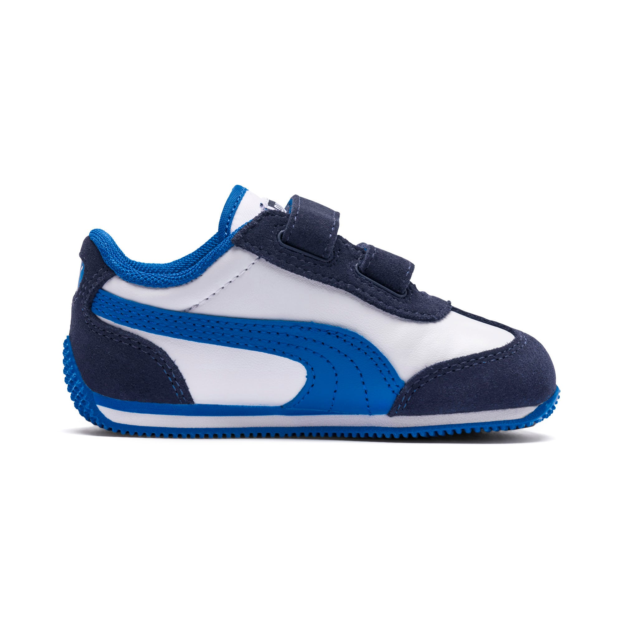 Thumbnail 6 of Whirlwind Leather V Preschool Kids' Trainers, White-Peacoat-Strong Blue, medium-IND