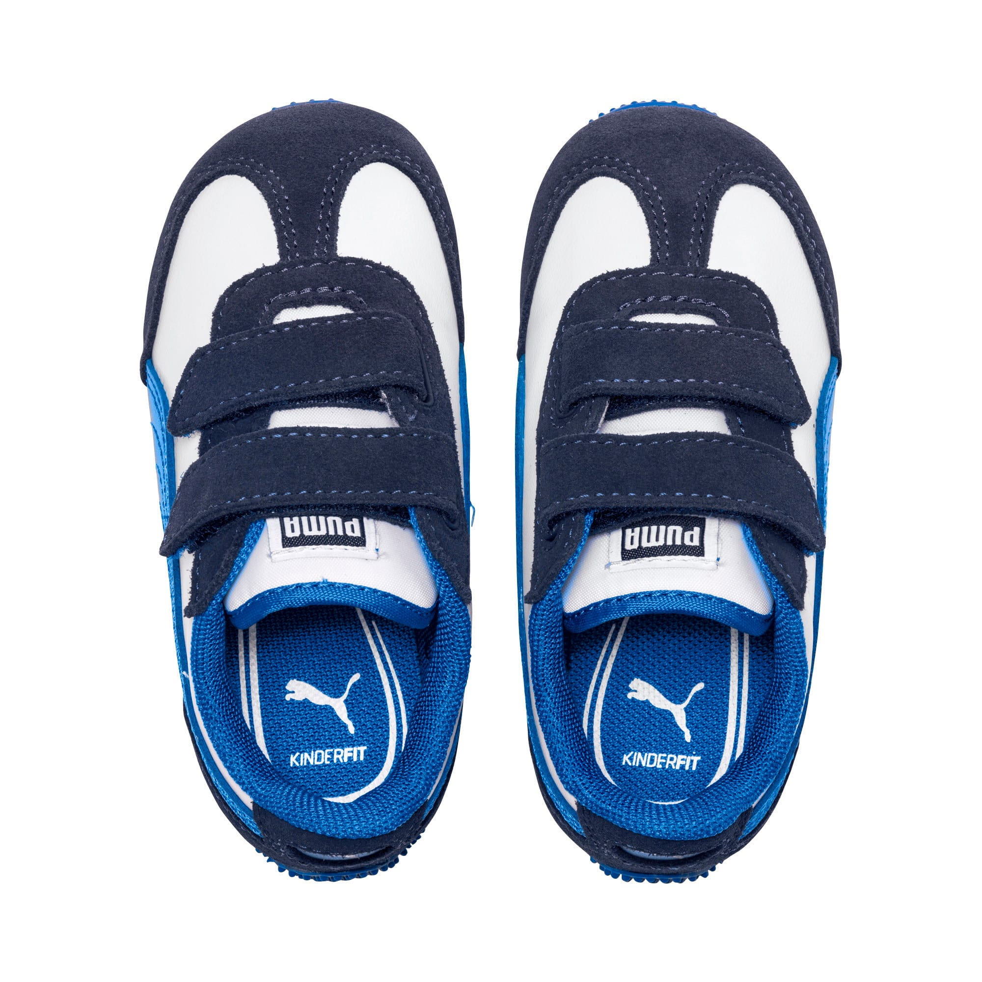 Thumbnail 7 of Whirlwind Leather V Preschool Kids' Trainers, White-Peacoat-Strong Blue, medium-IND