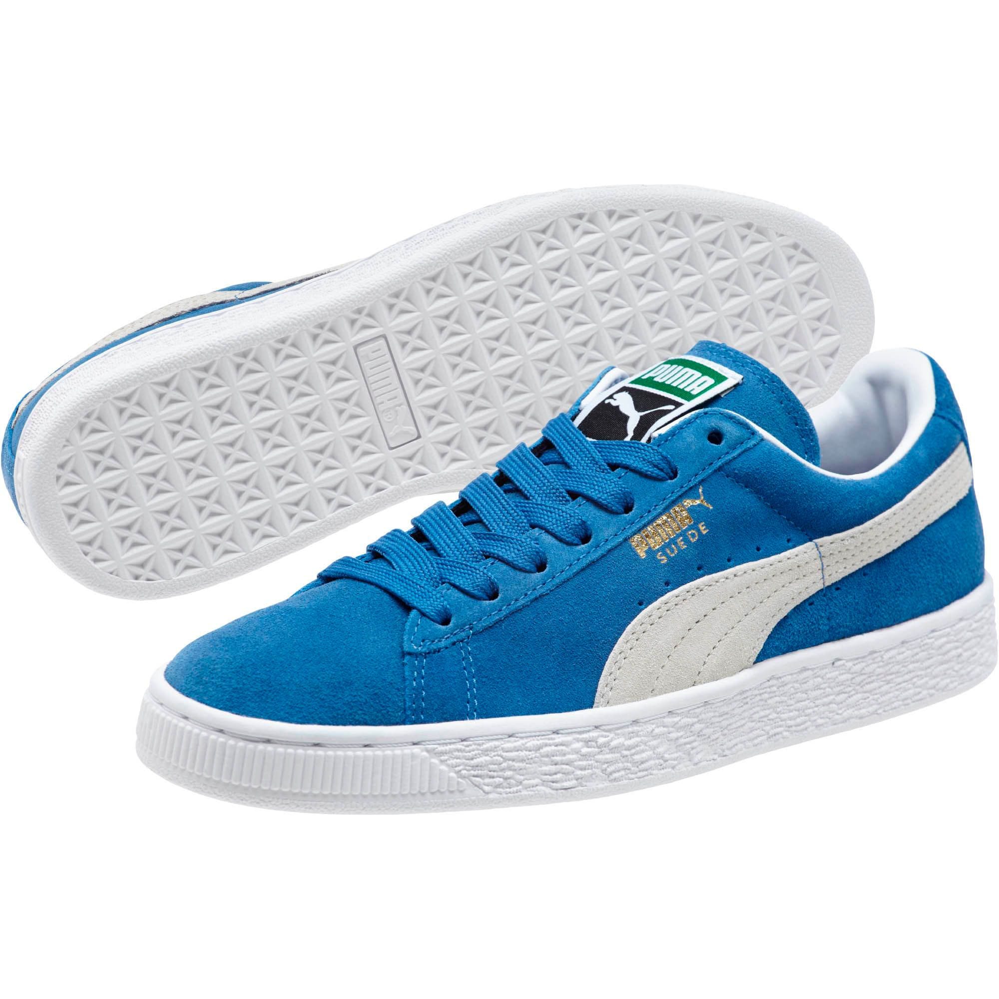 Thumbnail 2 of Suede Classic + Women's Sneakers, olympian blue-white, medium