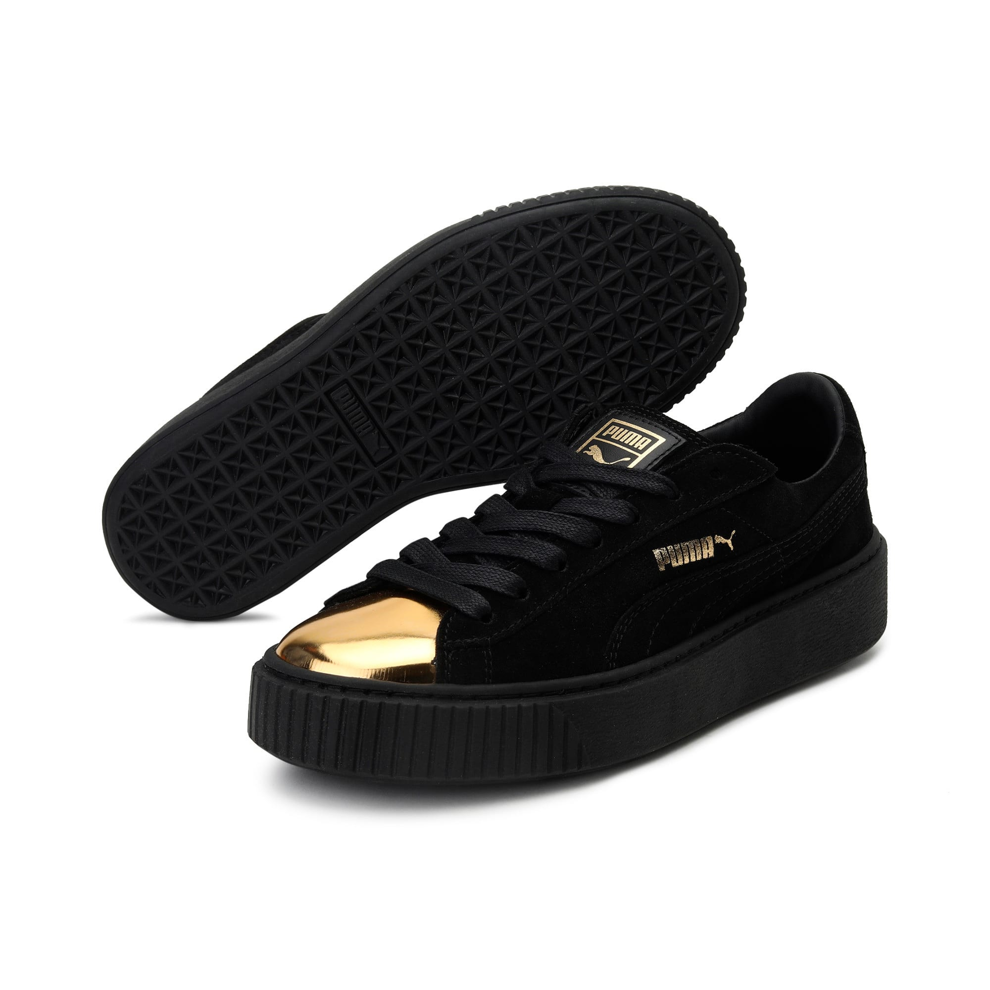 Thumbnail 2 of Suede Platform GOLD Women's Trainers, Gold-Puma Black-Puma Black, medium-IND