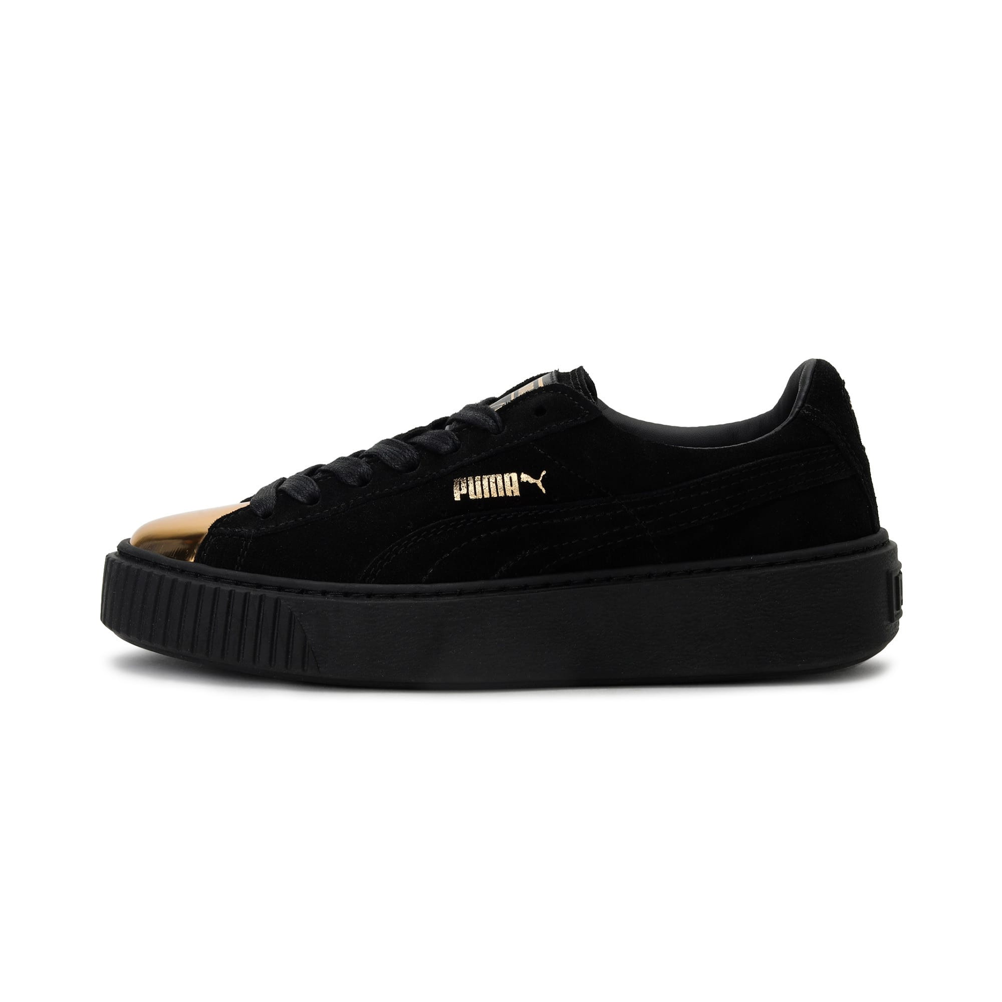 Thumbnail 1 of Suede Platform GOLD Women's Trainers, Gold-Puma Black-Puma Black, medium-IND