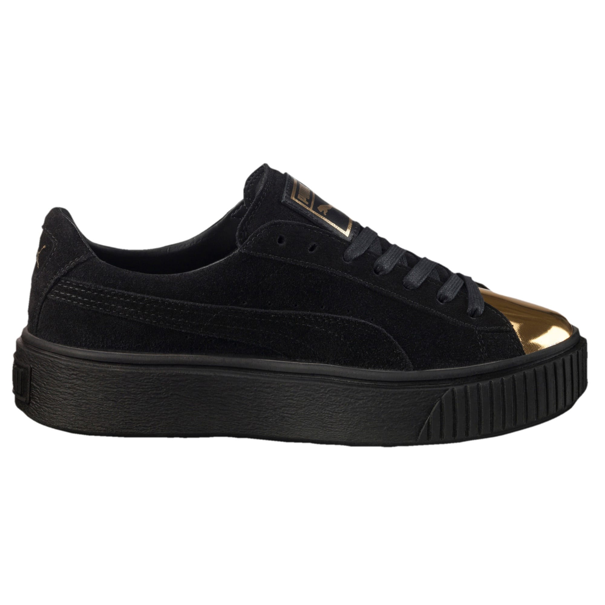 Thumbnail 4 of Suede Platform GOLD Women's Trainers, Gold-Puma Black-Puma Black, medium-IND