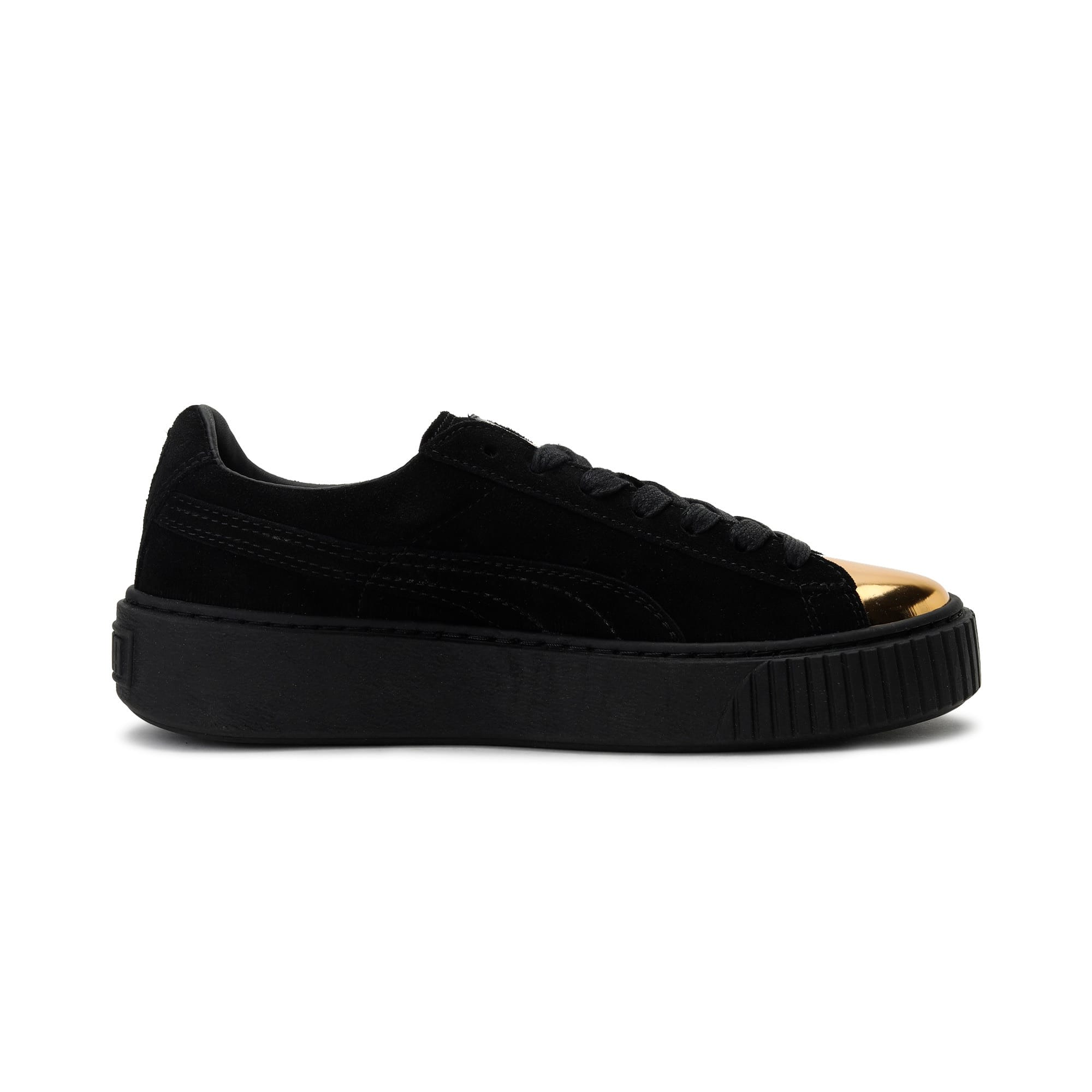 Thumbnail 5 of Suede Platform GOLD Women's Trainers, Gold-Puma Black-Puma Black, medium-IND