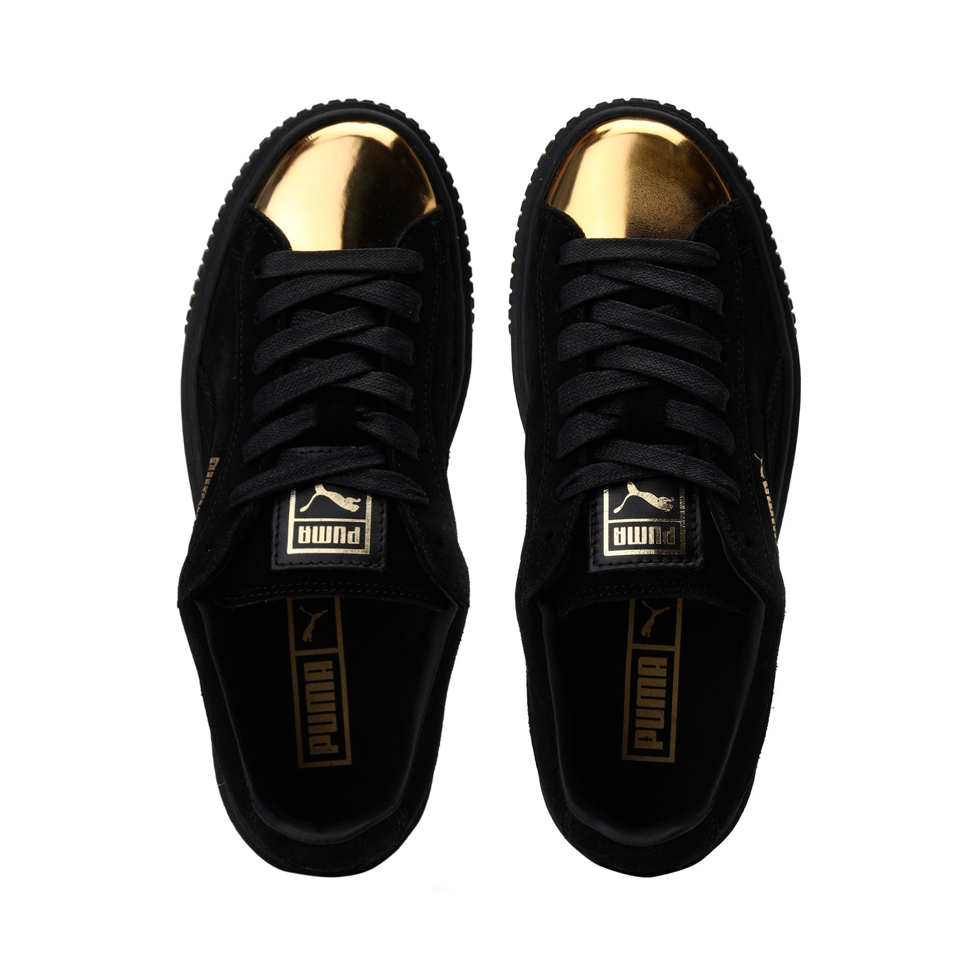 Thumbnail 6 of Suede Platform GOLD Women's Trainers, Gold-Puma Black-Puma Black, medium-IND