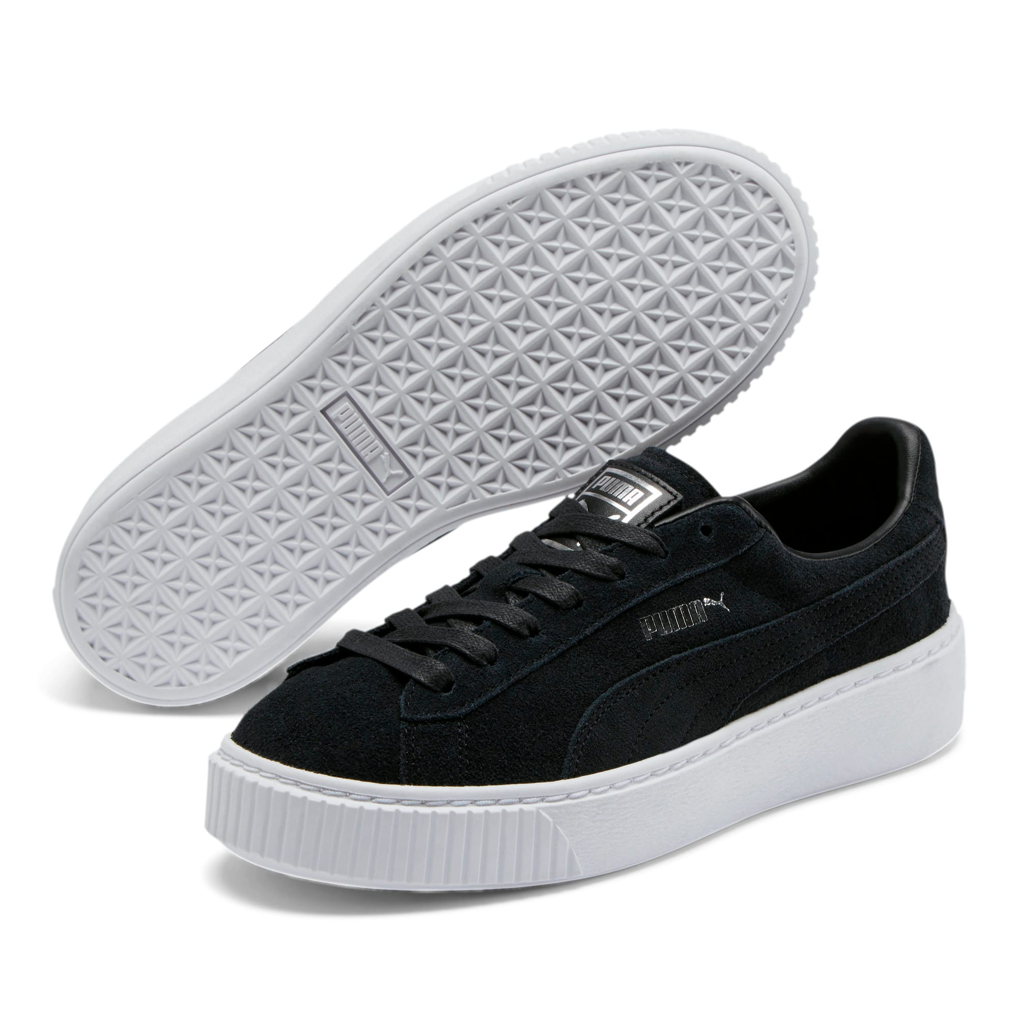 Thumbnail 2 of Suede Platform Women's Sneakers, Puma Black-Black-Puma White, medium