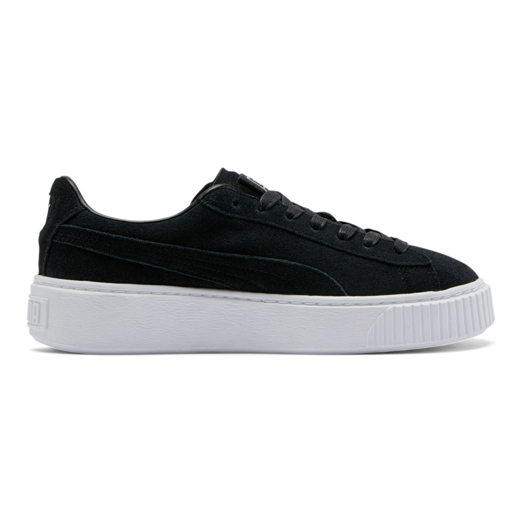 Thumbnail 5 of Suede Platform Women's Sneakers, Puma Black-Black-Puma White, medium