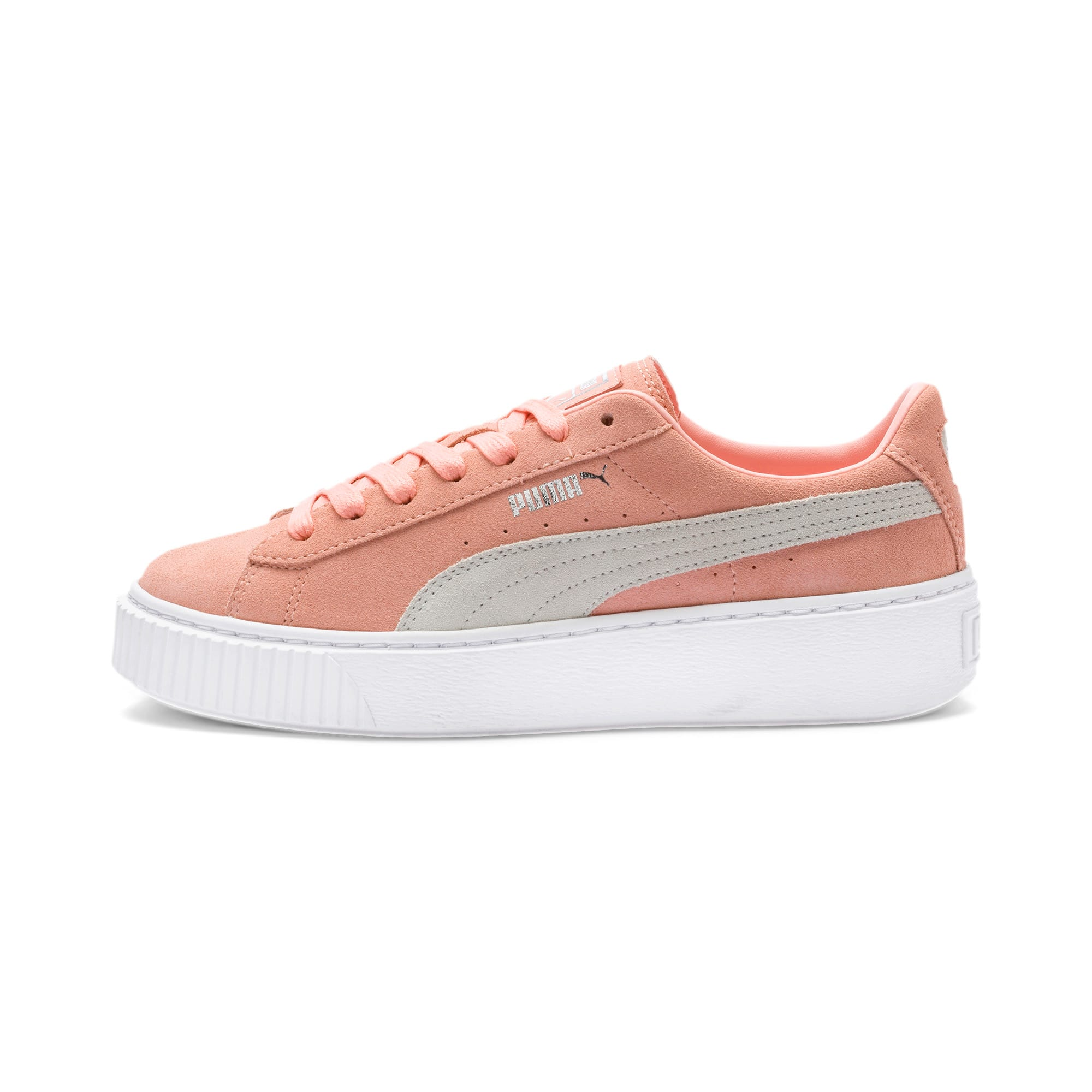Thumbnail 1 of Suede Platform Women's Sneakers, Peach Bud-Puma Silver, medium