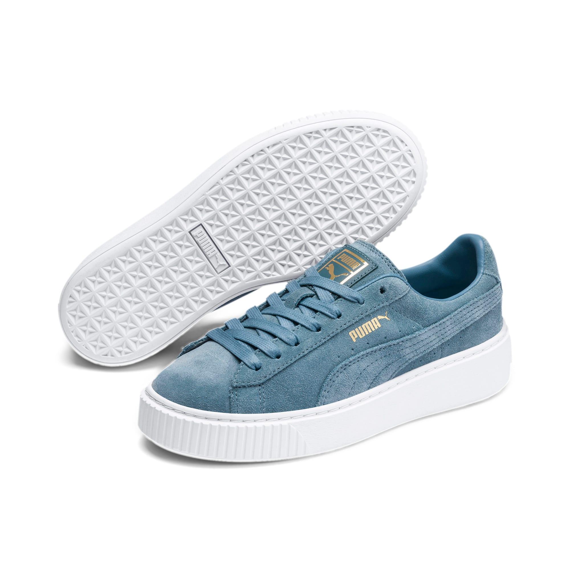 Thumbnail 2 of Suede Platform Women's Sneakers, Bluestone-Puma Team Gold, medium