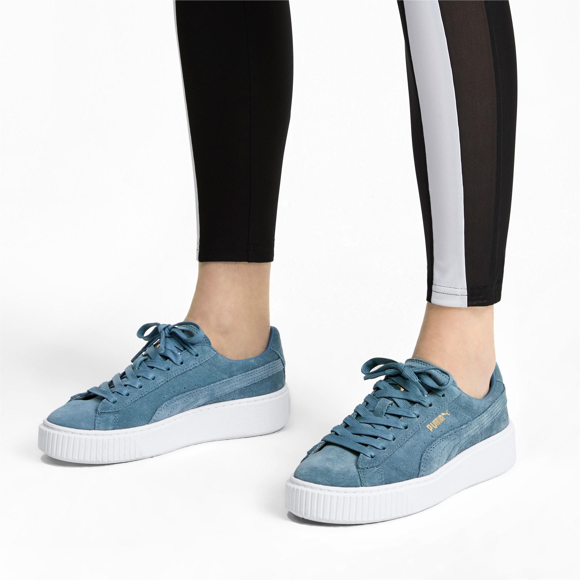 Thumbnail 3 of Suede Platform Women's Sneakers, Bluestone-Puma Team Gold, medium