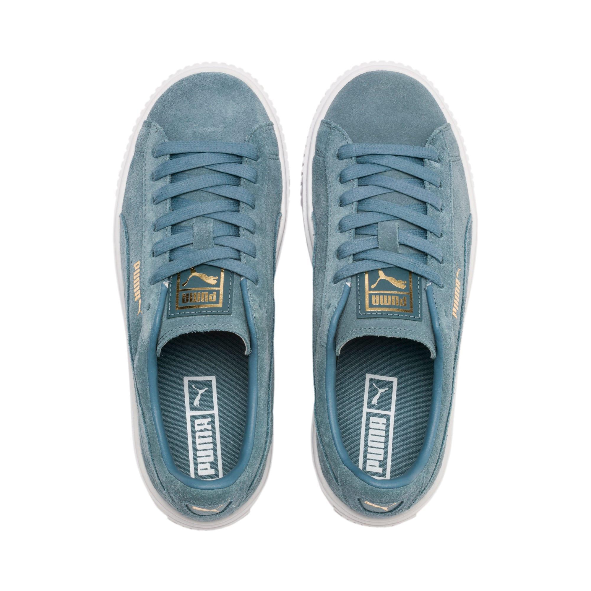 Thumbnail 7 of Suede Platform Women's Sneakers, Bluestone-Puma Team Gold, medium