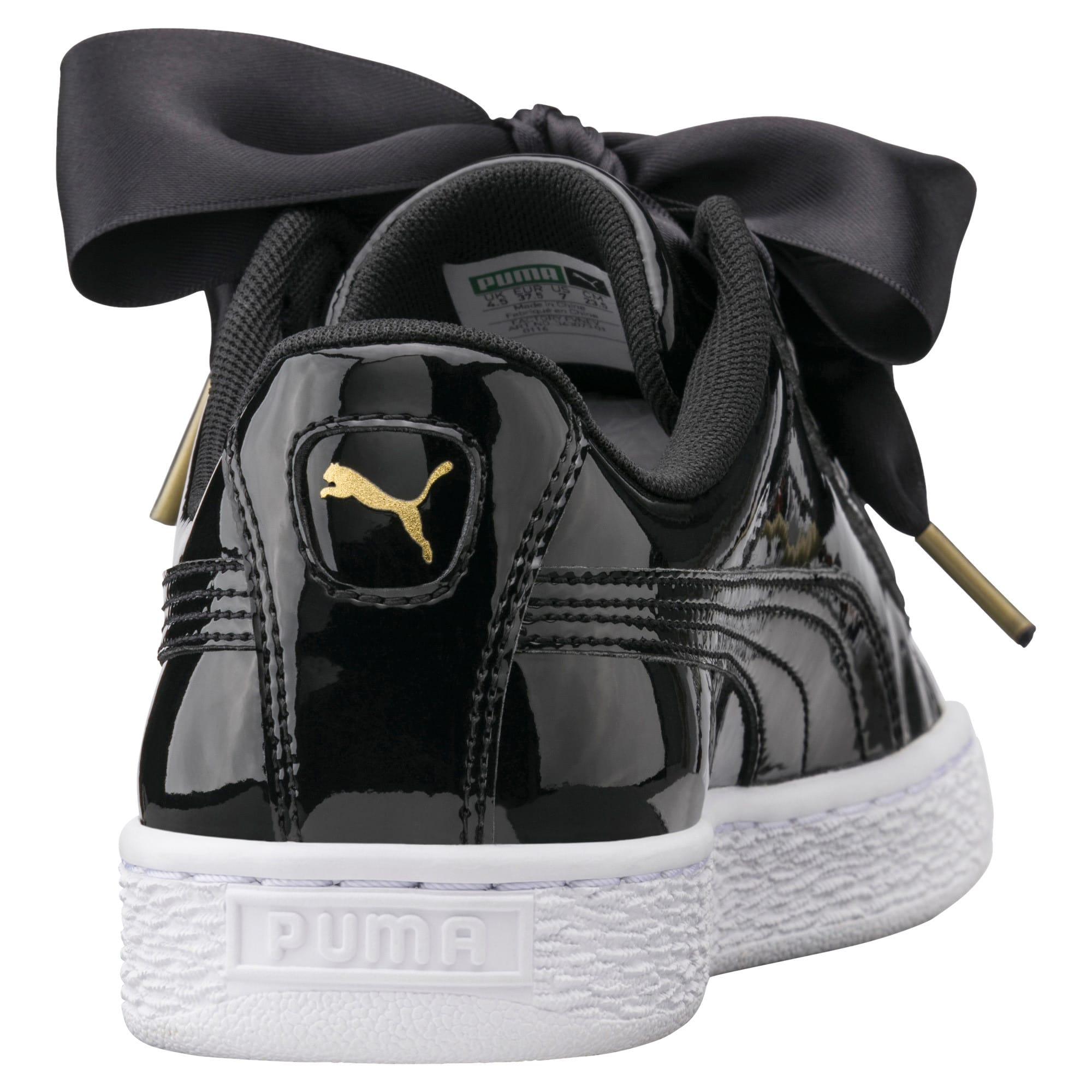 Thumbnail 3 of Basket Heart Patent Women's Trainers, Puma Black-Puma Black, medium-IND