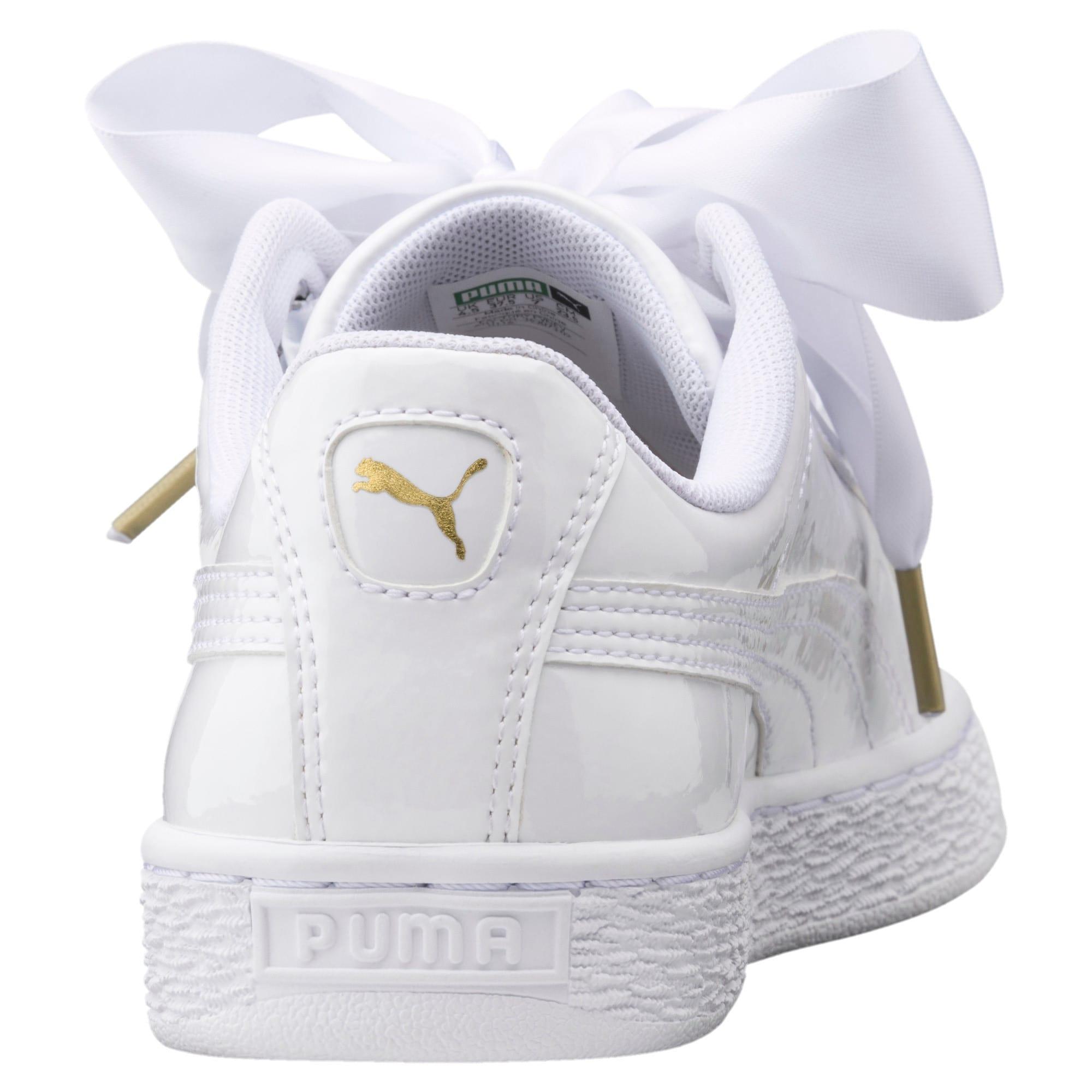 Thumbnail 3 of Basket Heart Patent Women's Trainers, Puma White-Puma White, medium