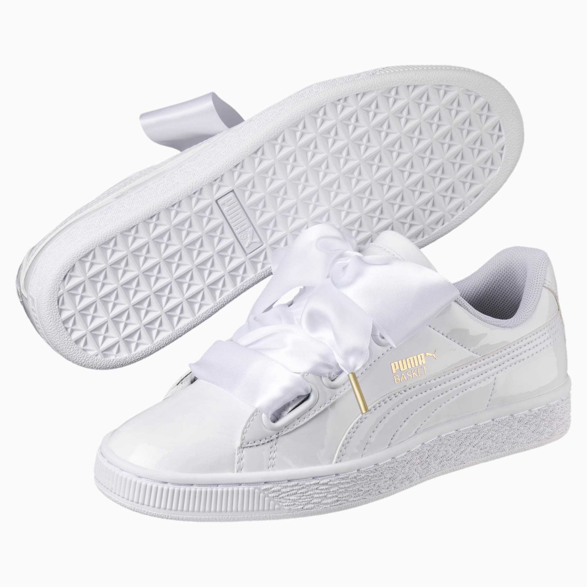 puma basket heart patent junior blanche