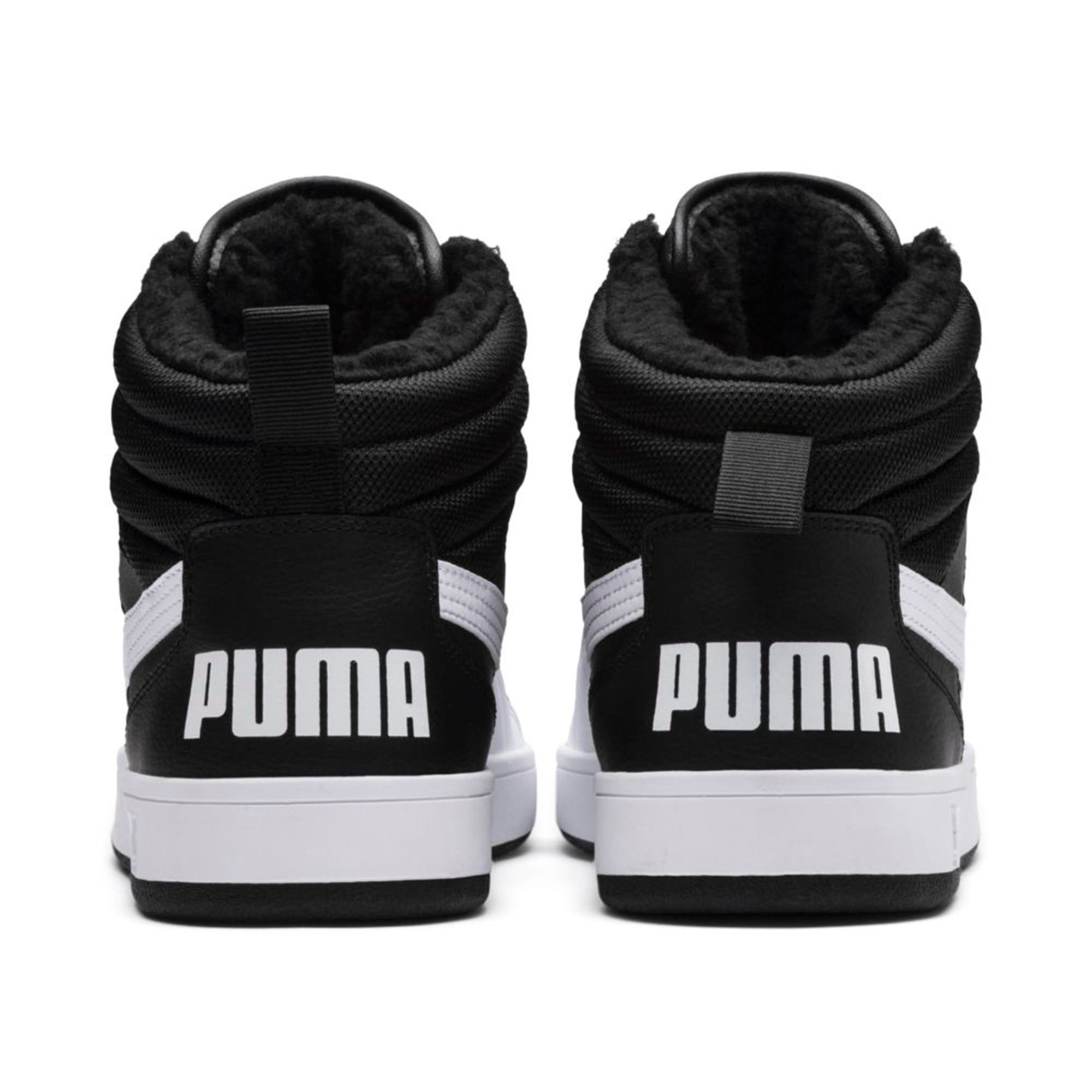 Thumbnail 4 of Rebound Street v2 Fur High Tops, Puma Black-Puma White, medium-IND
