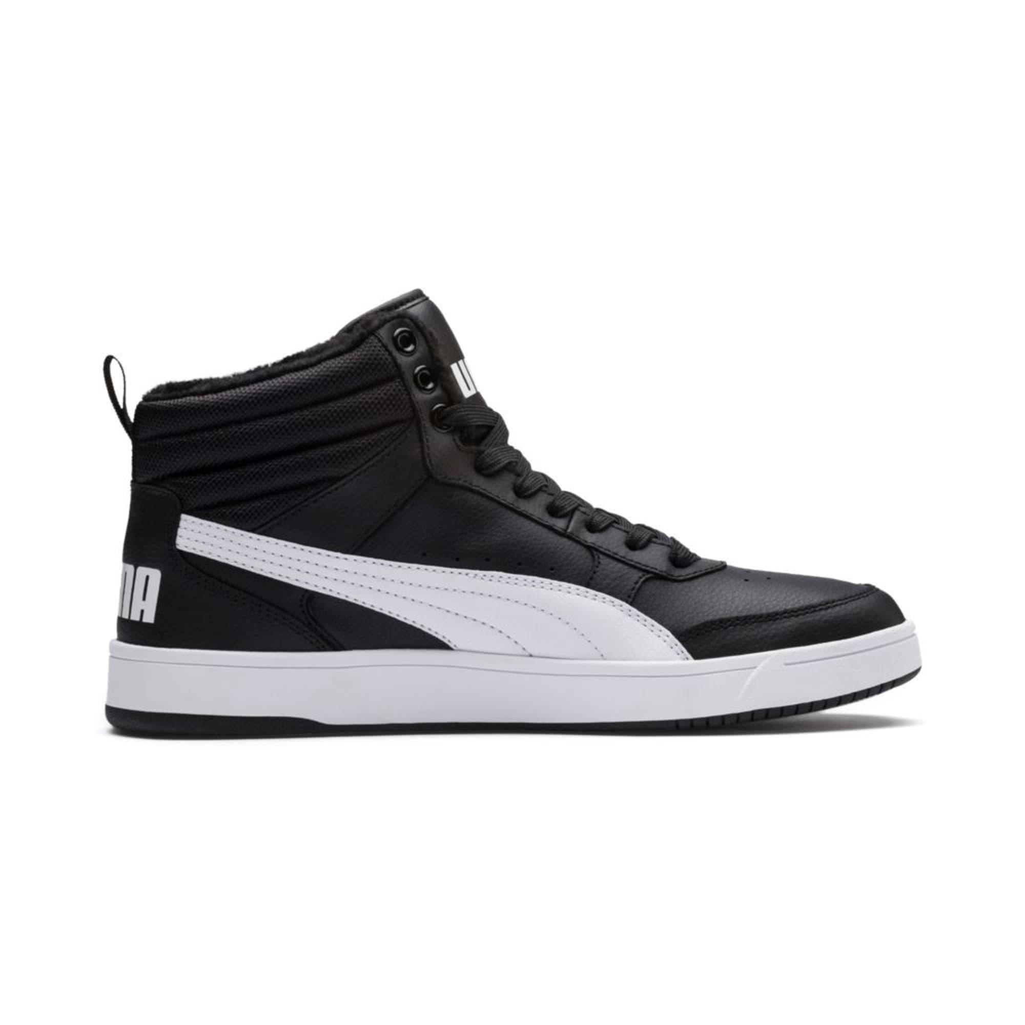 Thumbnail 5 of Rebound Street v2 Fur High Tops, Puma Black-Puma White, medium-IND