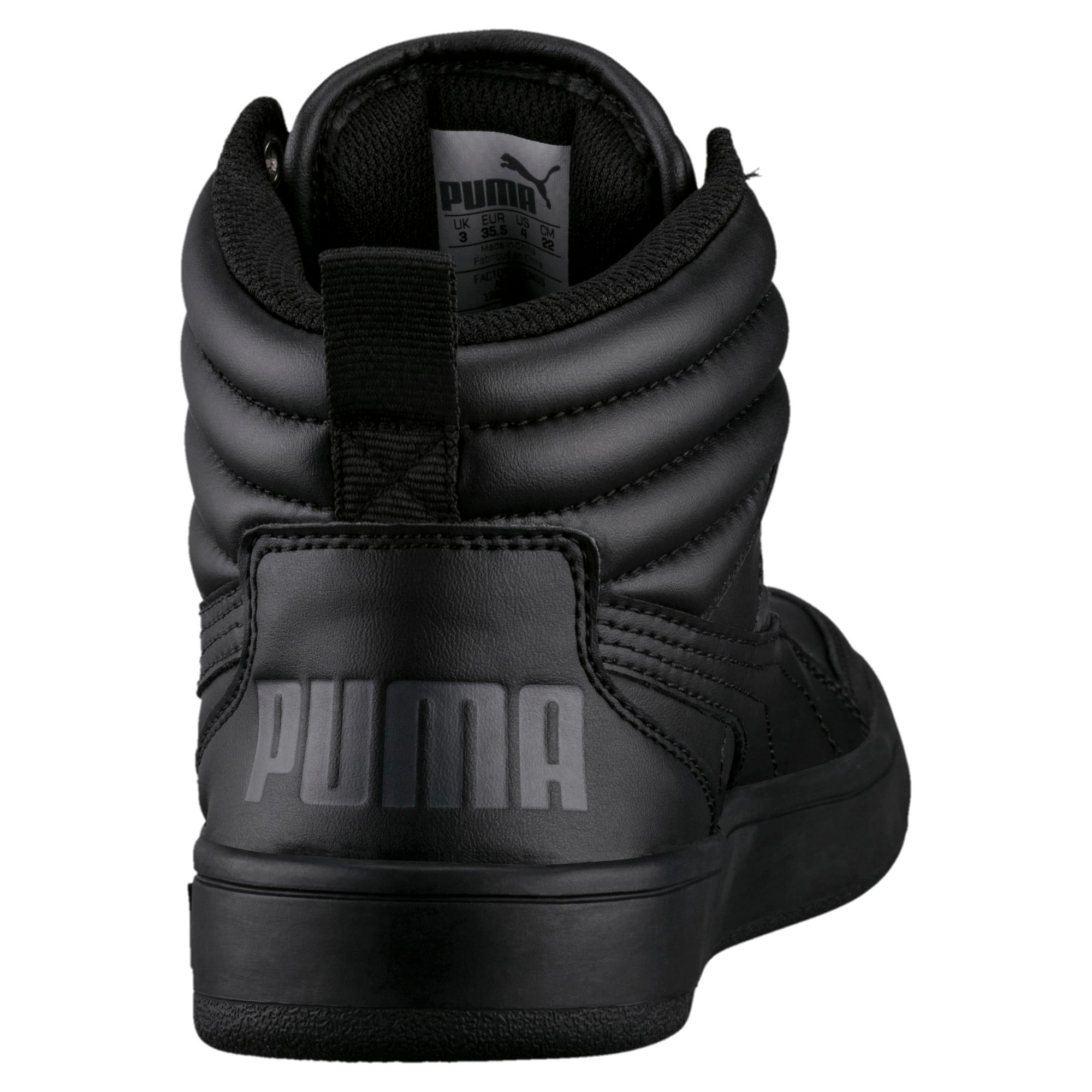 Thumbnail 2 of Rebound Street v2 Leather Kids' High Tops, Puma Black-Puma Black, medium-IND