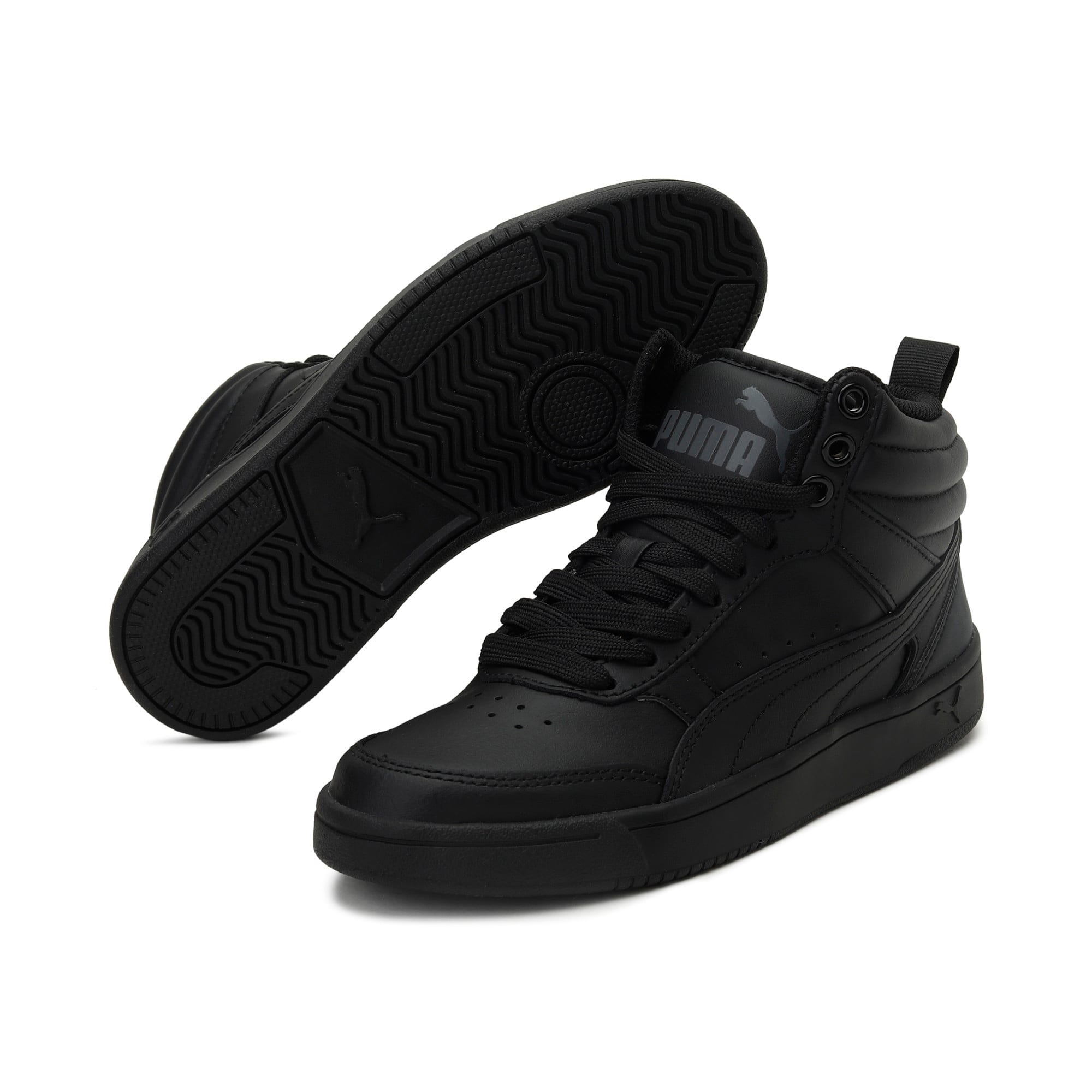 Thumbnail 3 of Rebound Street v2 Leather Kids' High Tops, Puma Black-Puma Black, medium-IND